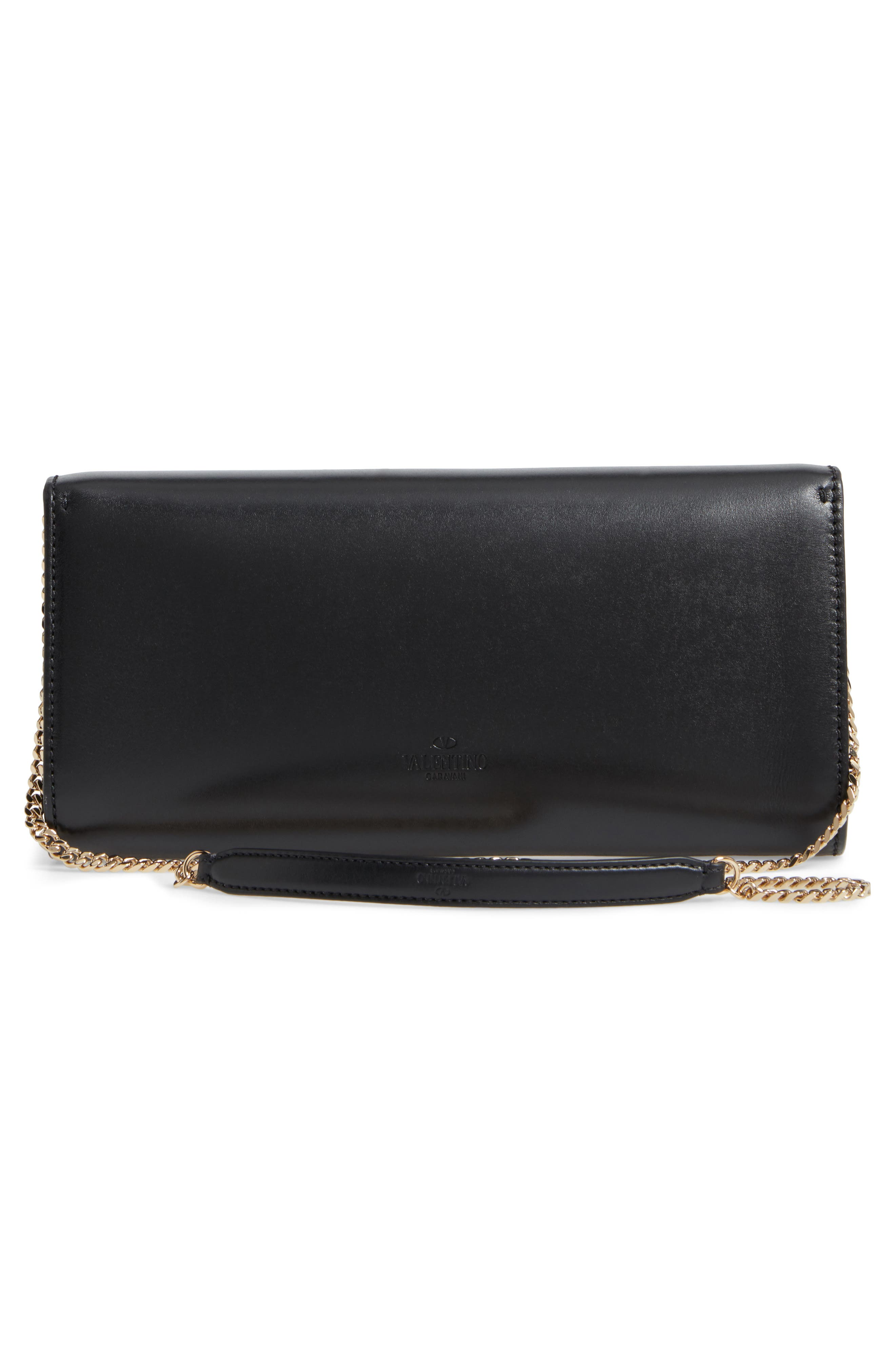 Valentino Studded Leather Shoulder Bag,                             Alternate thumbnail 3, color,                             001