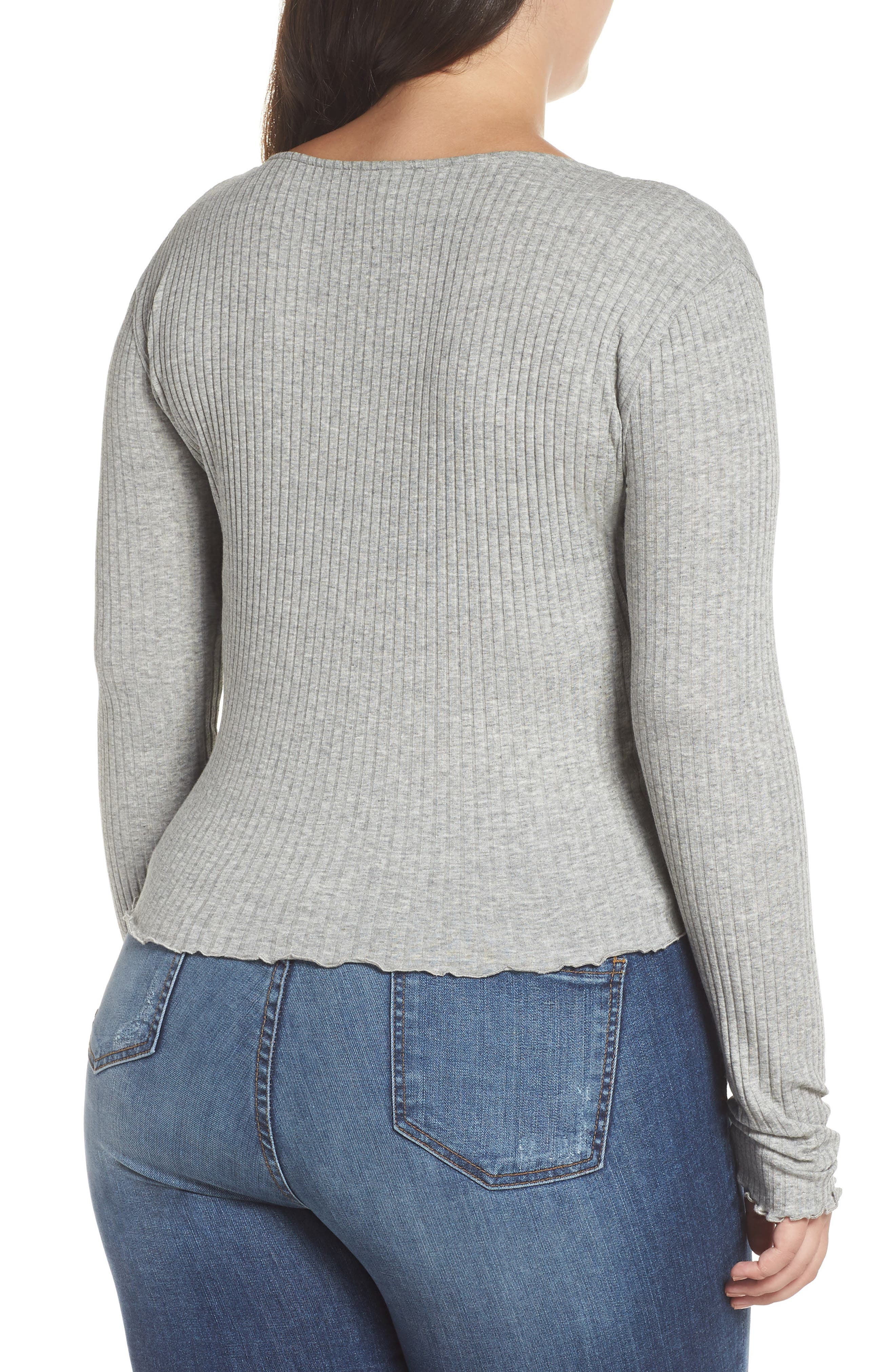 Lettuce Edge Ribbed Top,                             Alternate thumbnail 2, color,                             GREY MEDIUM HEATHER