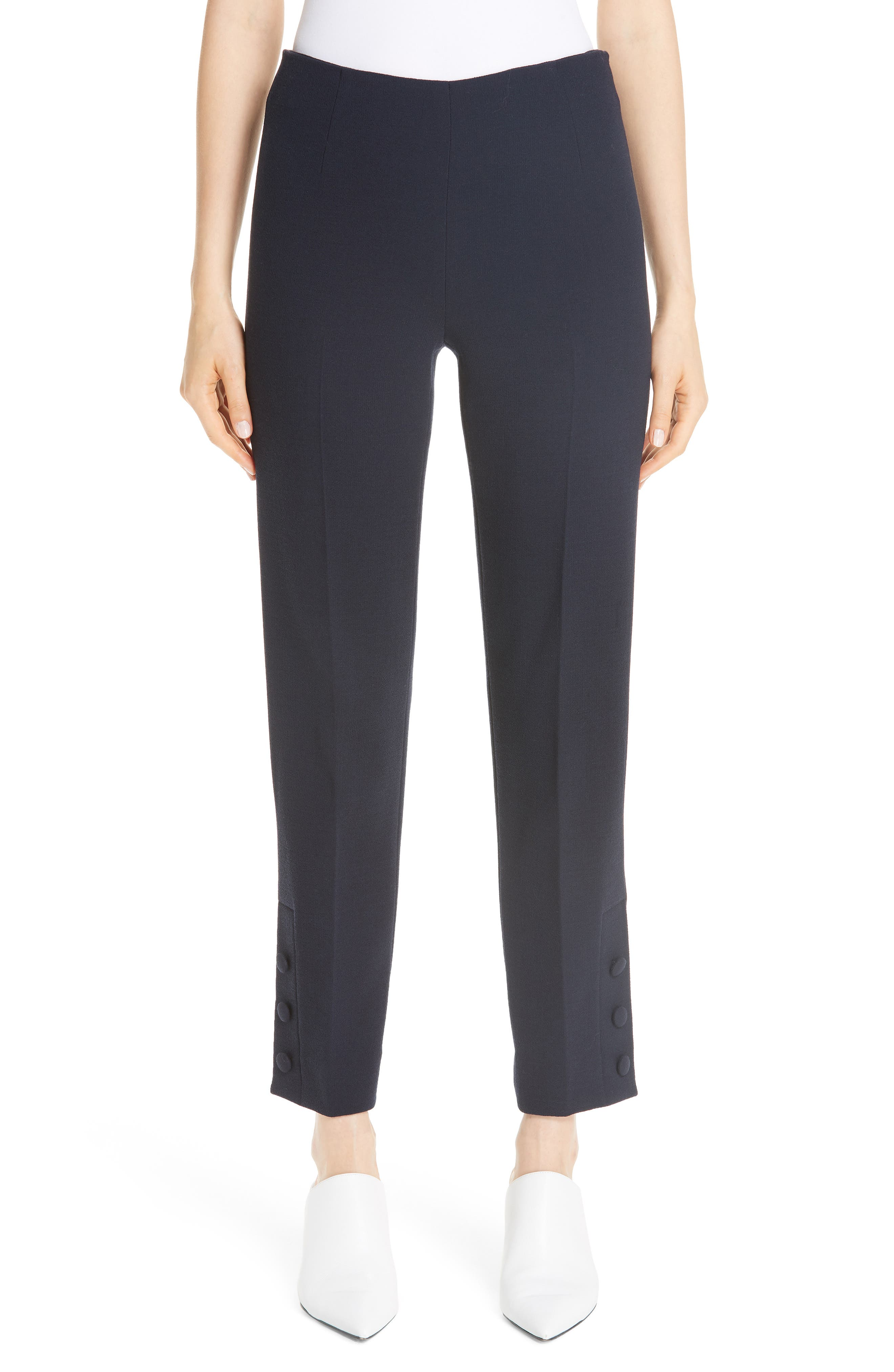 Button Hem Wool Blend Crepe Straight Leg Pants in Navy