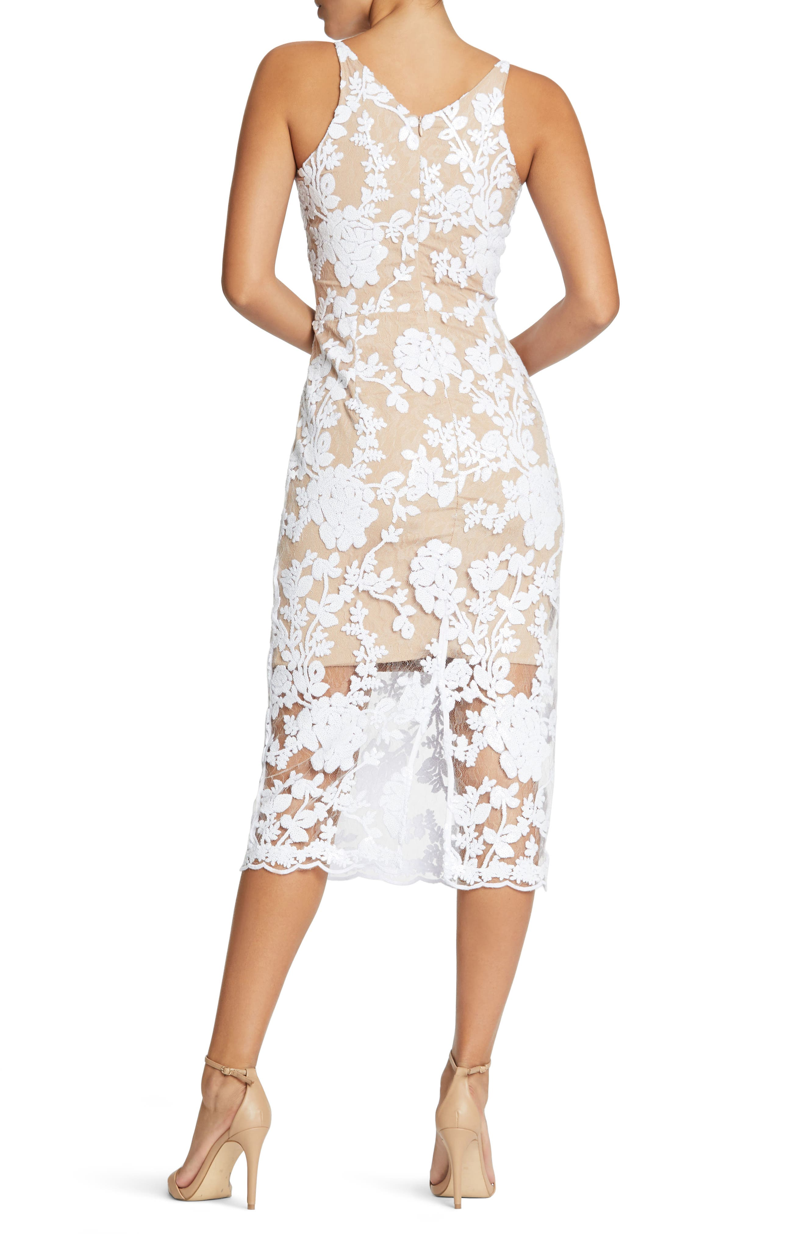 Rebecca Floral Lace Midi Dress,                             Alternate thumbnail 4, color,