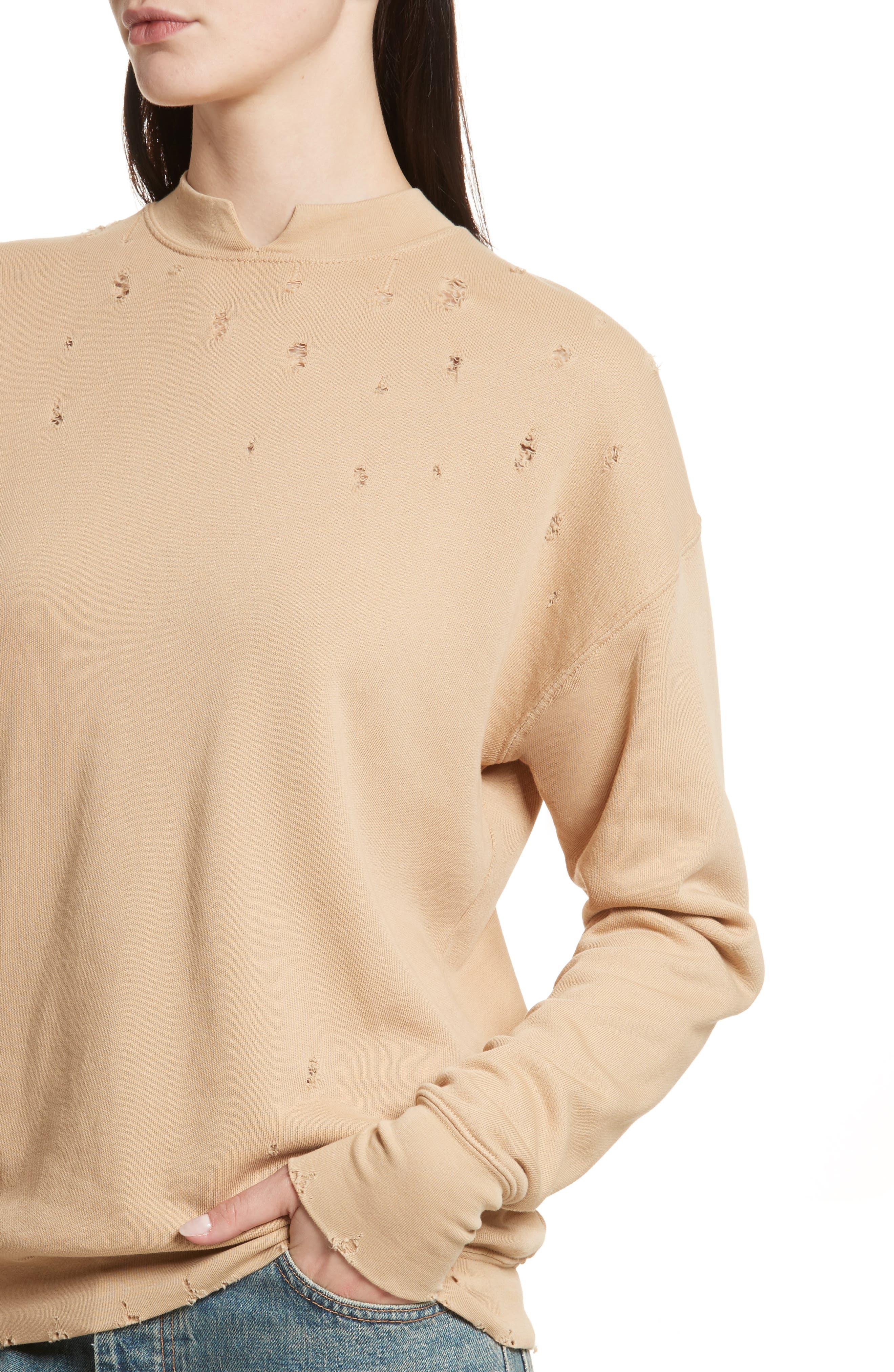 Slash Neck Destroyed Sweatshirt,                             Alternate thumbnail 4, color,                             291