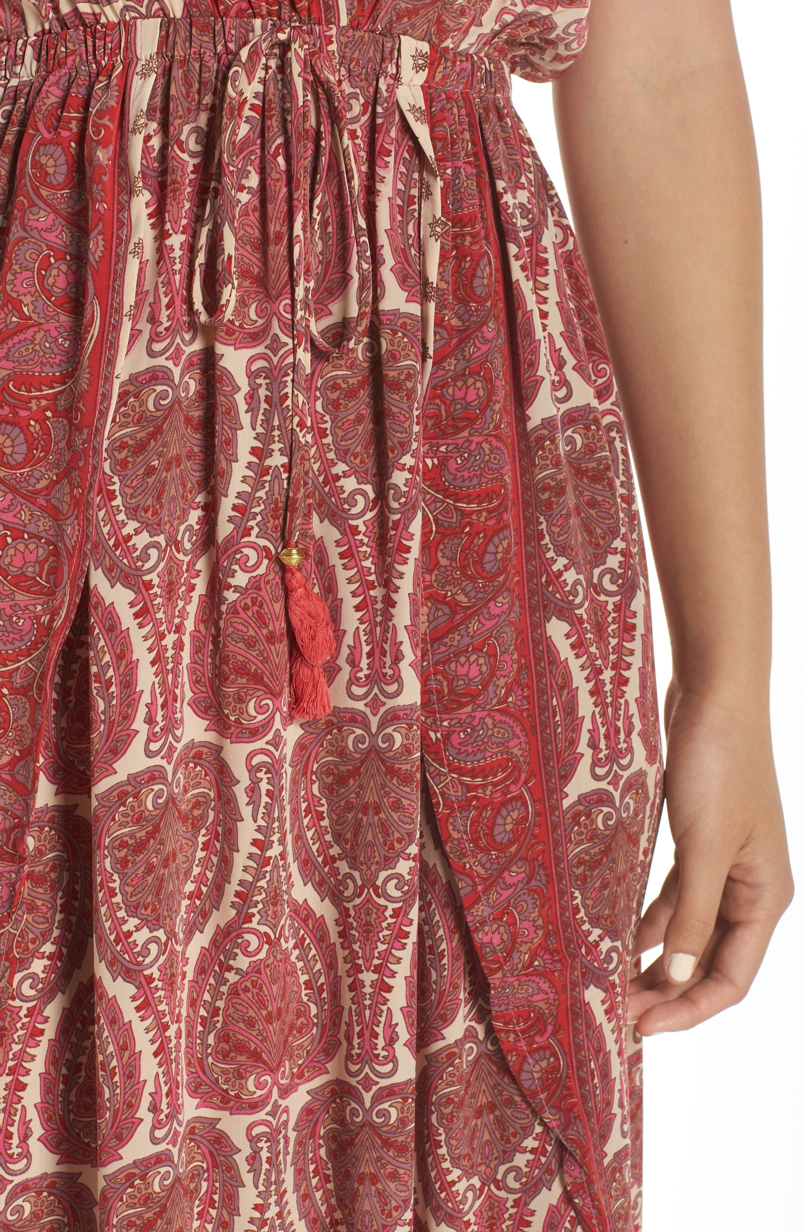 Wrap Maxi Cover-Up Dress,                             Alternate thumbnail 4, color,                             PAISLEY CORAL