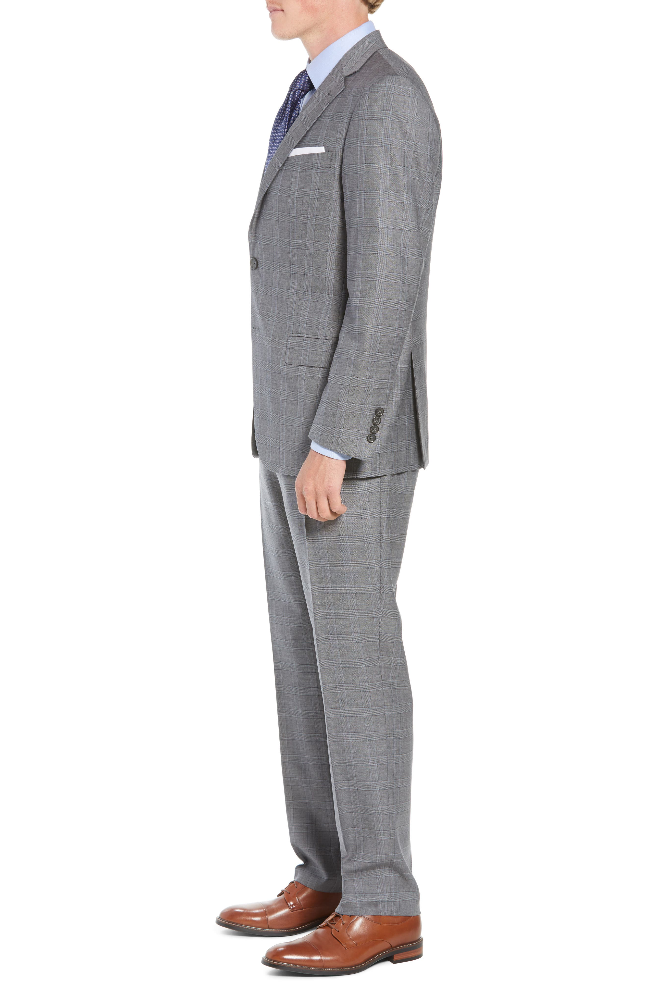 New York Classic Fit Plaid Wool Suit,                             Alternate thumbnail 3, color,                             MID GREY