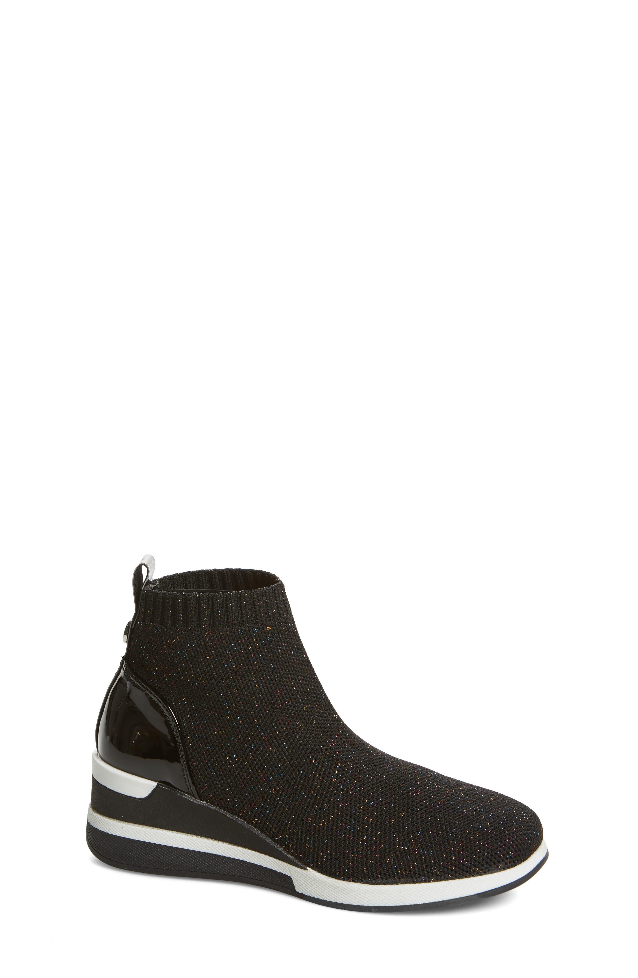 STEVE MADDEN,                             Dusky Metallic High Top Wedge Sock Sneaker,                             Main thumbnail 1, color,                             BLACK MULTI