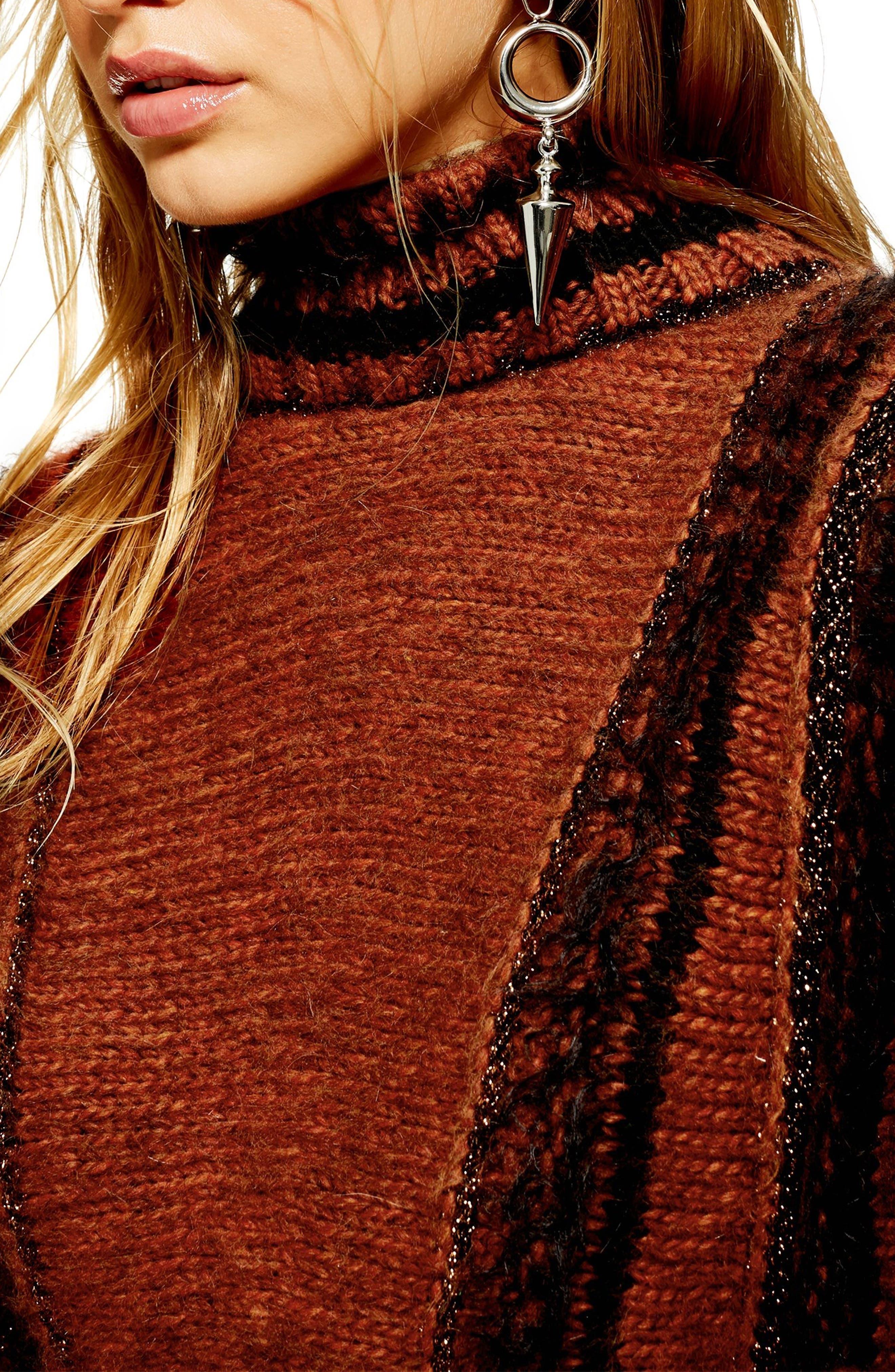 Metallic Stripe Sweater,                             Alternate thumbnail 3, color,                             BROWN MULTI