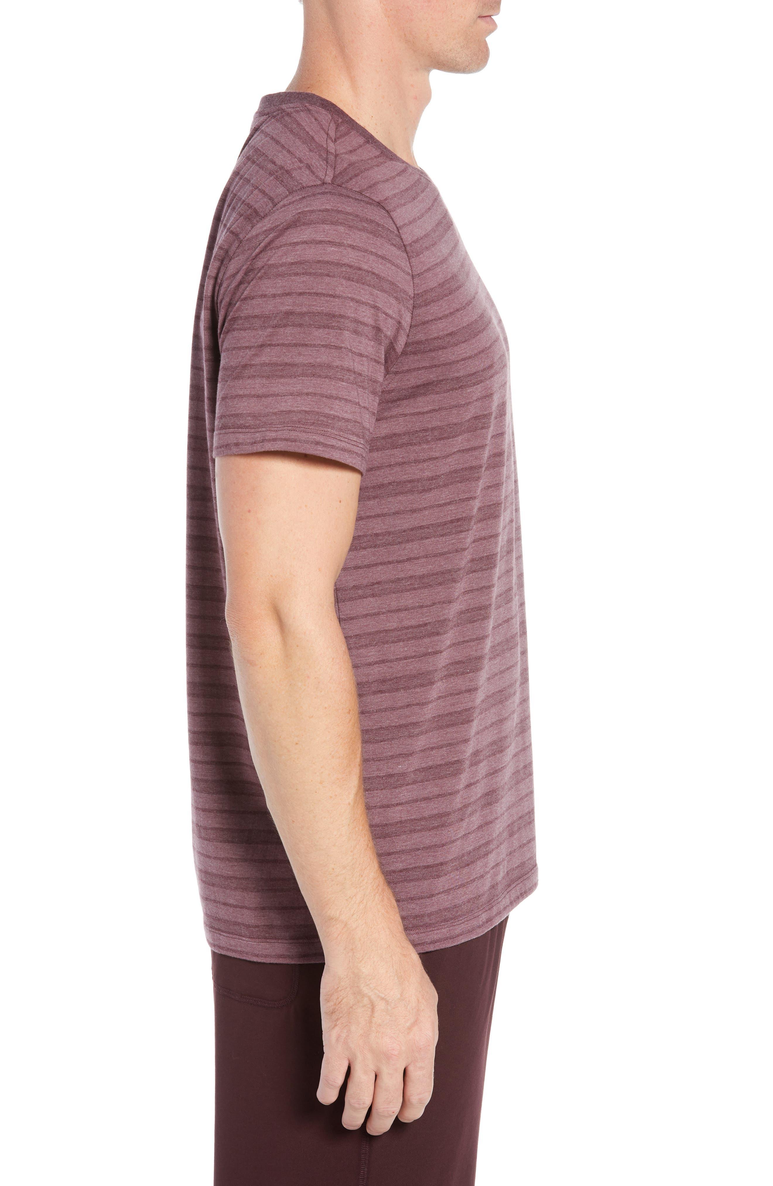 Stripe Cotton Blend Crewneck T-Shirt,                             Alternate thumbnail 3, color,                             WINE