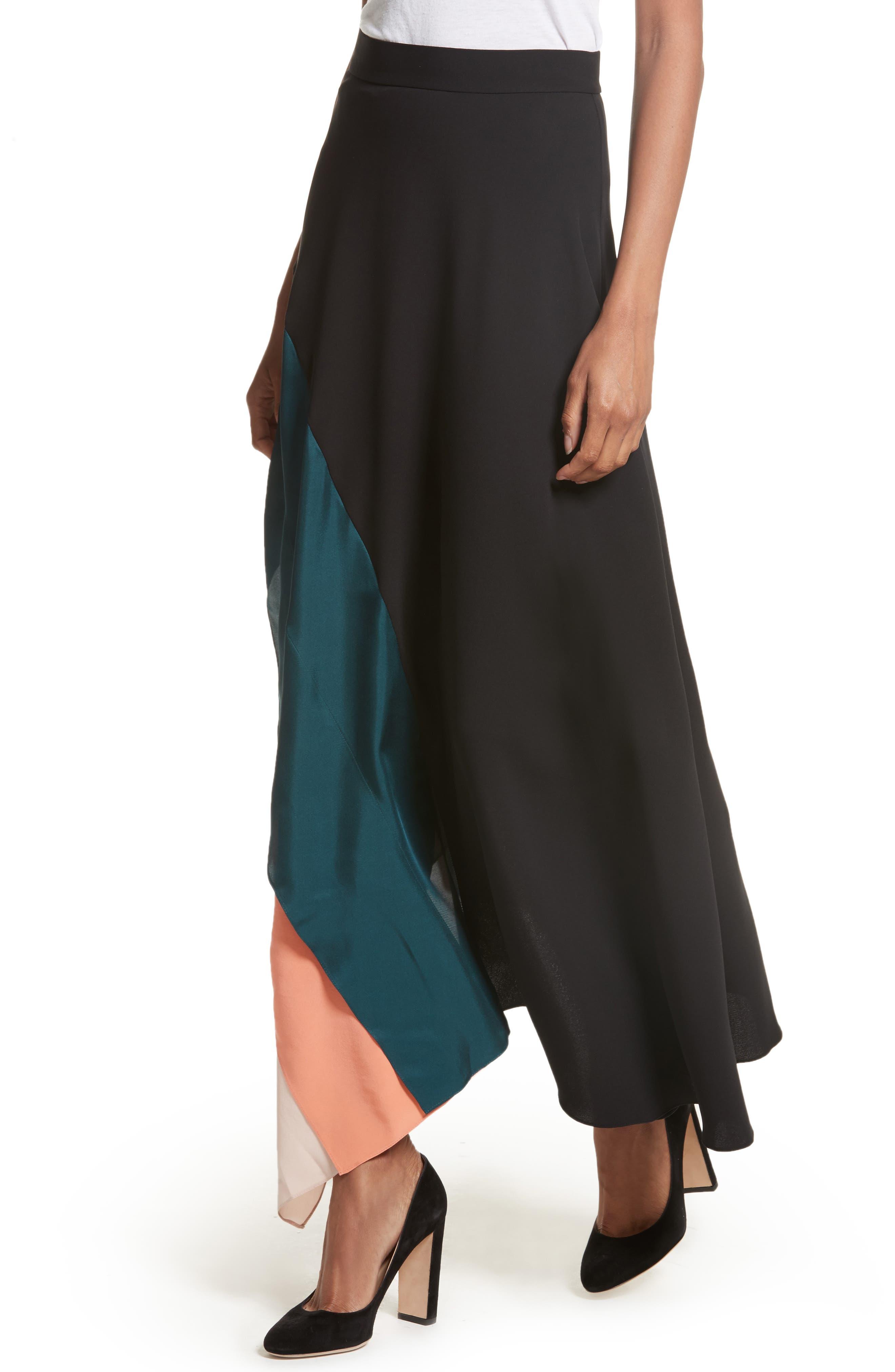Delma Asymmetric Silk Skirt,                             Alternate thumbnail 4, color,