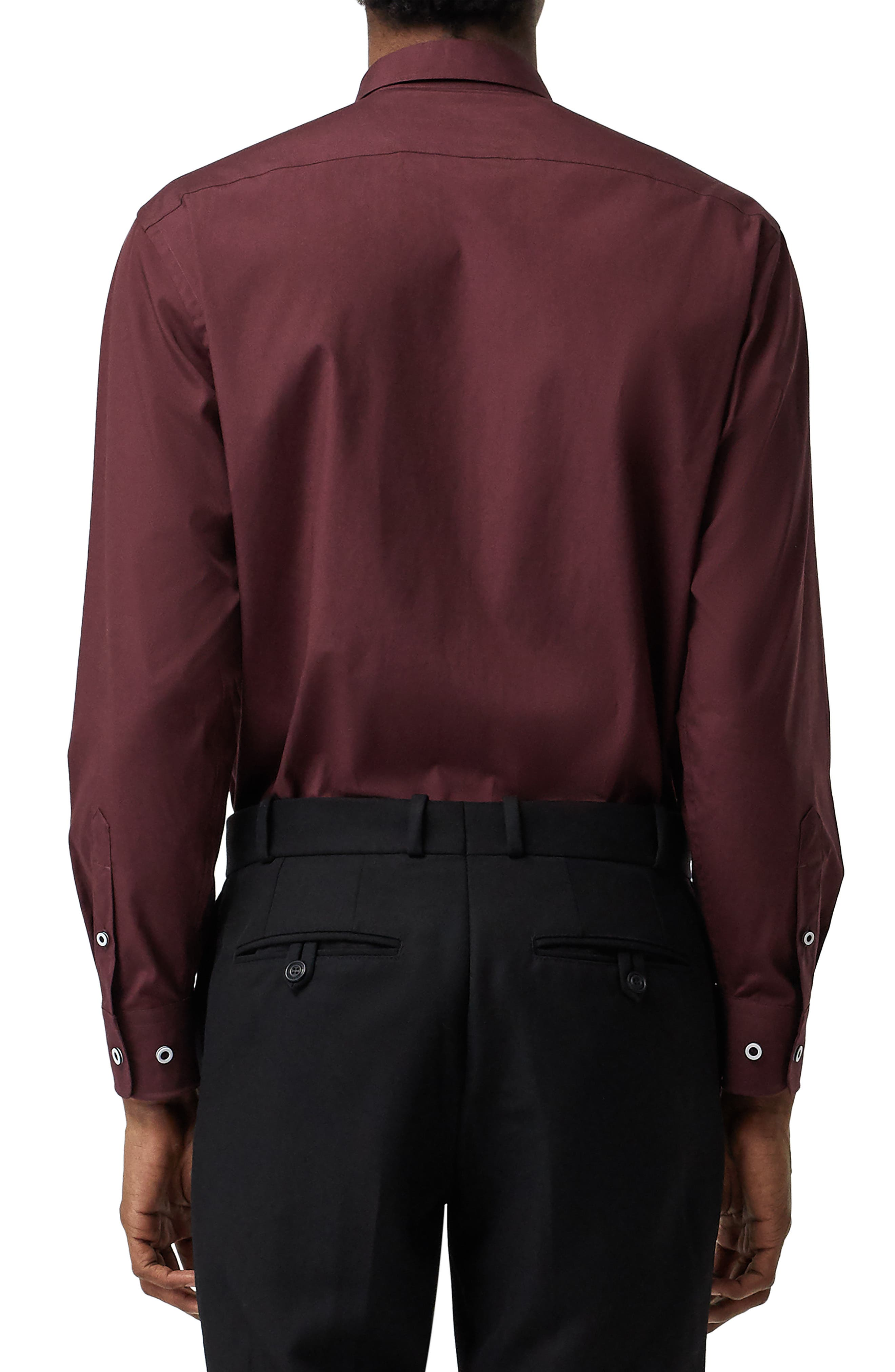 BURBERRY,                             William Sport Shirt,                             Alternate thumbnail 3, color,                             OXBLOOD