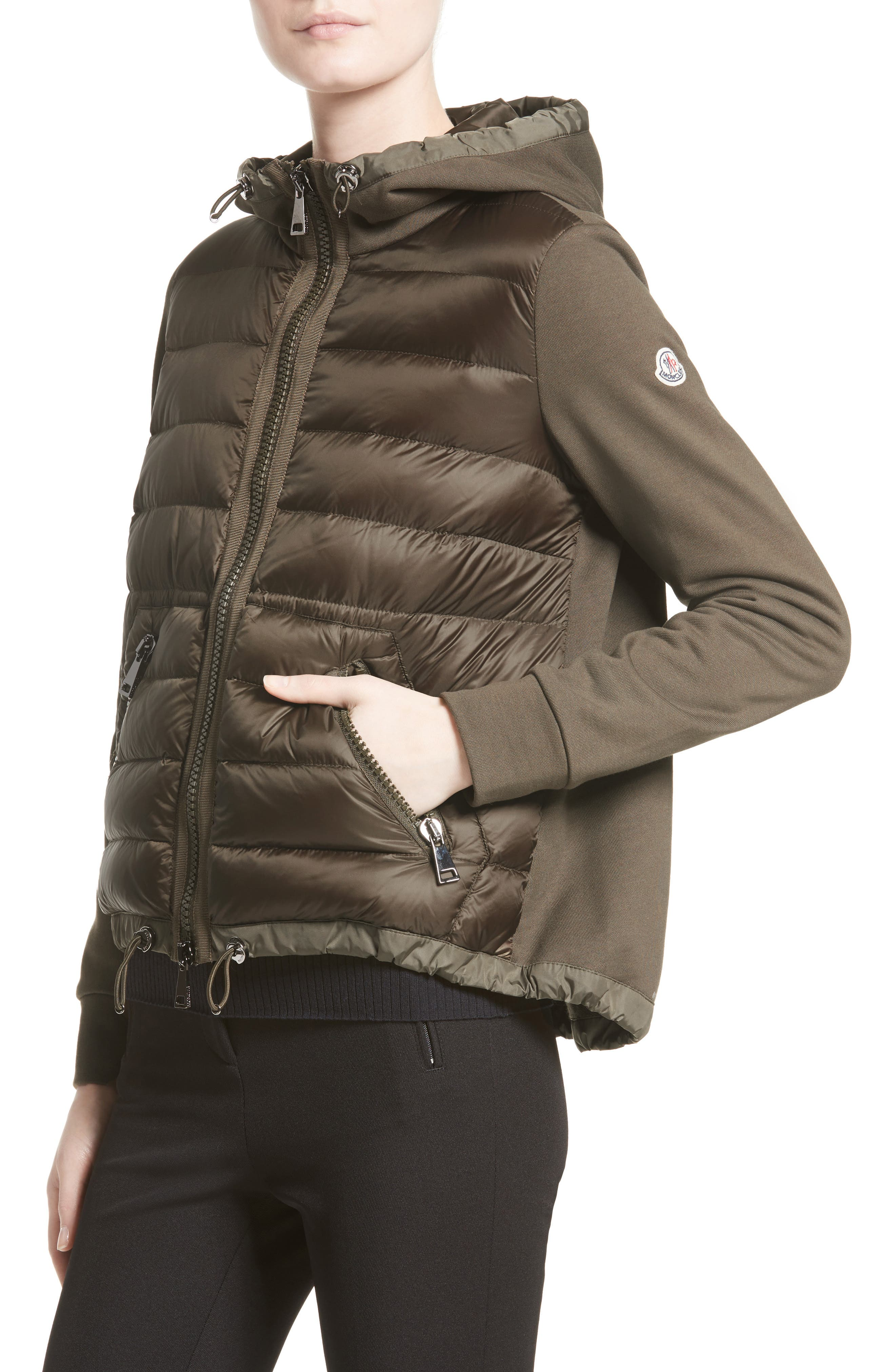 Quilted Front Hooded Jacket,                             Alternate thumbnail 4, color,                             OLIVE