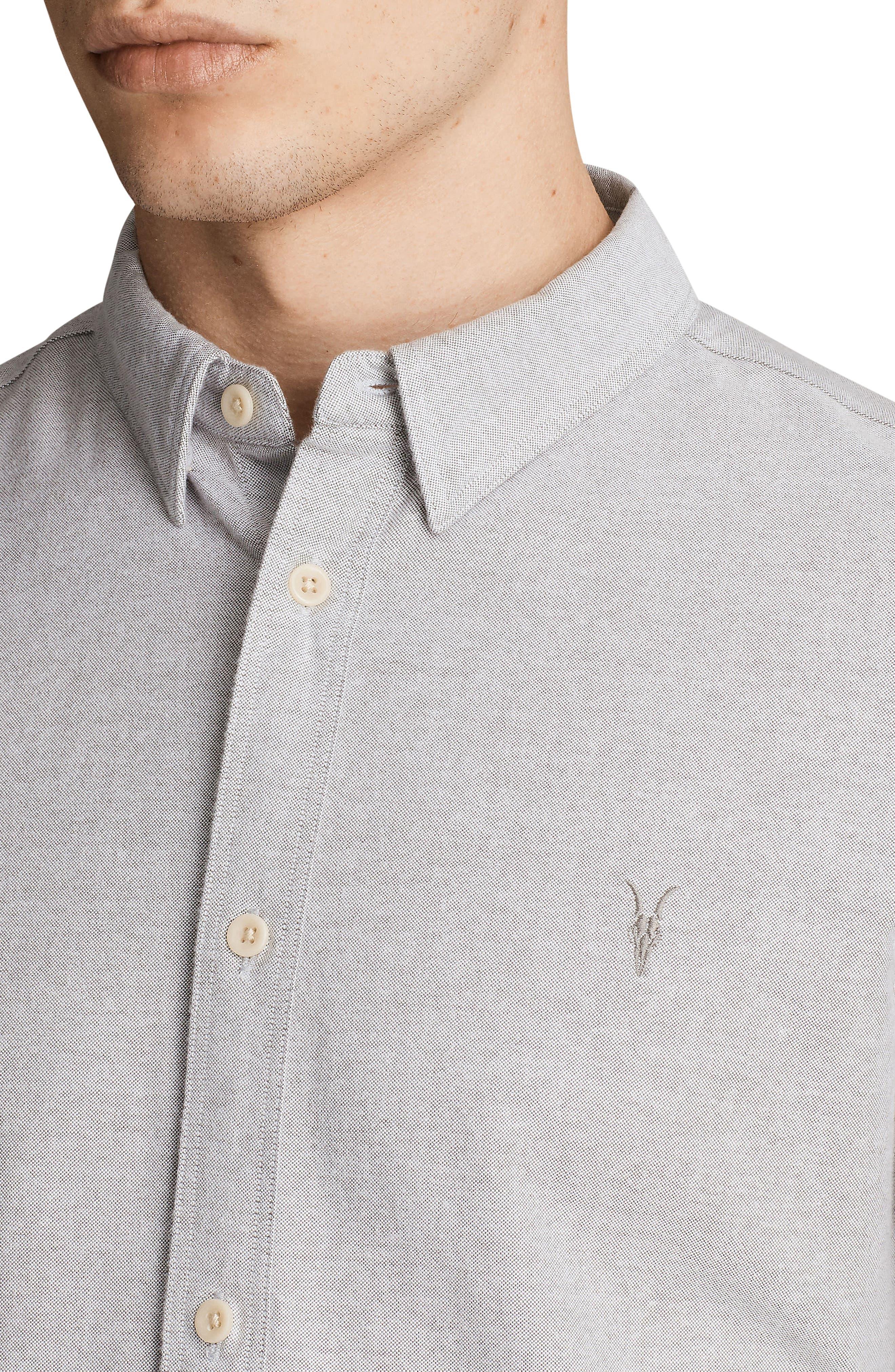 Huntington Regular Fit Sport Shirt,                             Alternate thumbnail 3, color,                             DARK GULL GREY