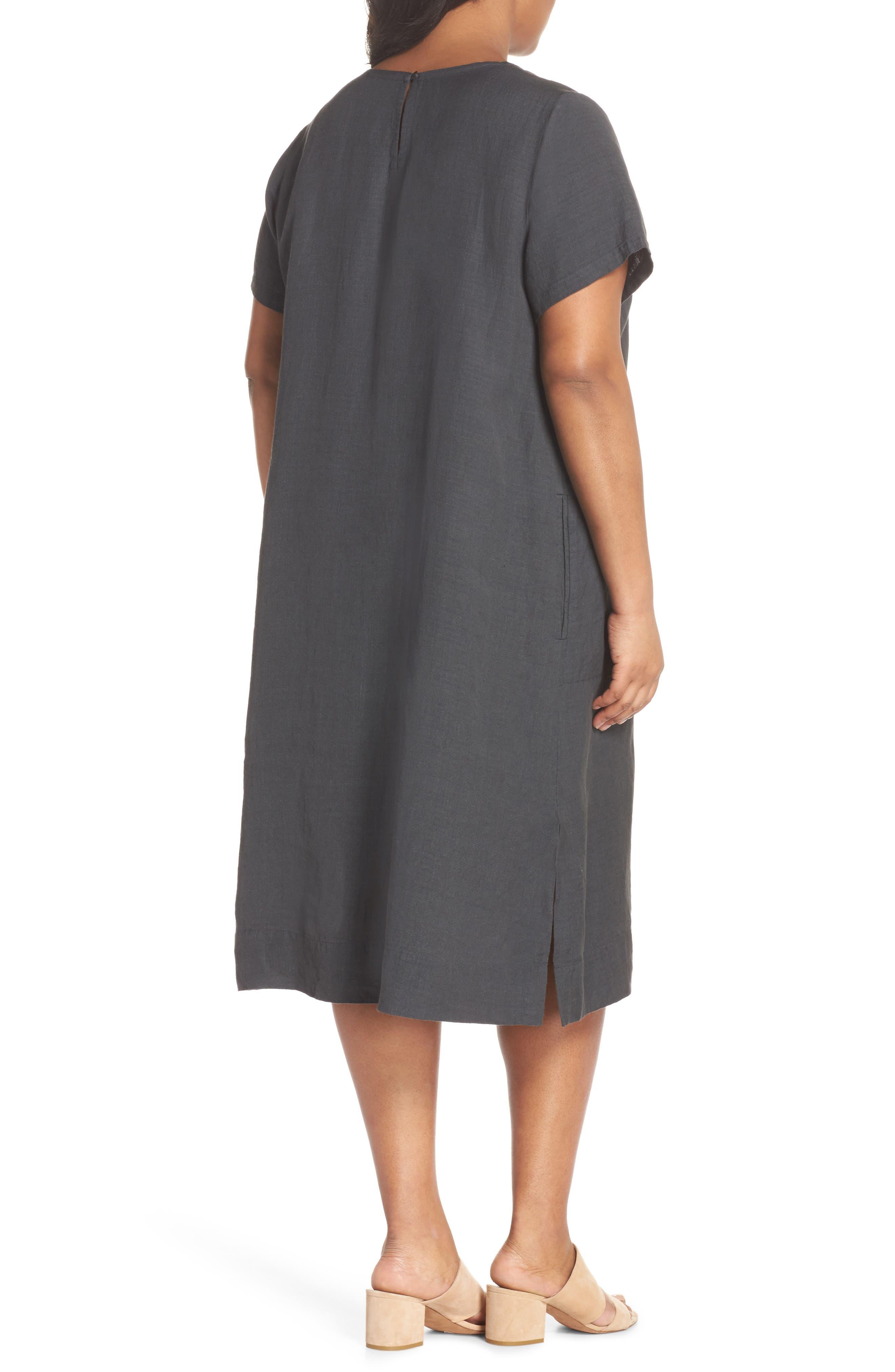 Linen Blend Shift Dress,                             Alternate thumbnail 4, color,