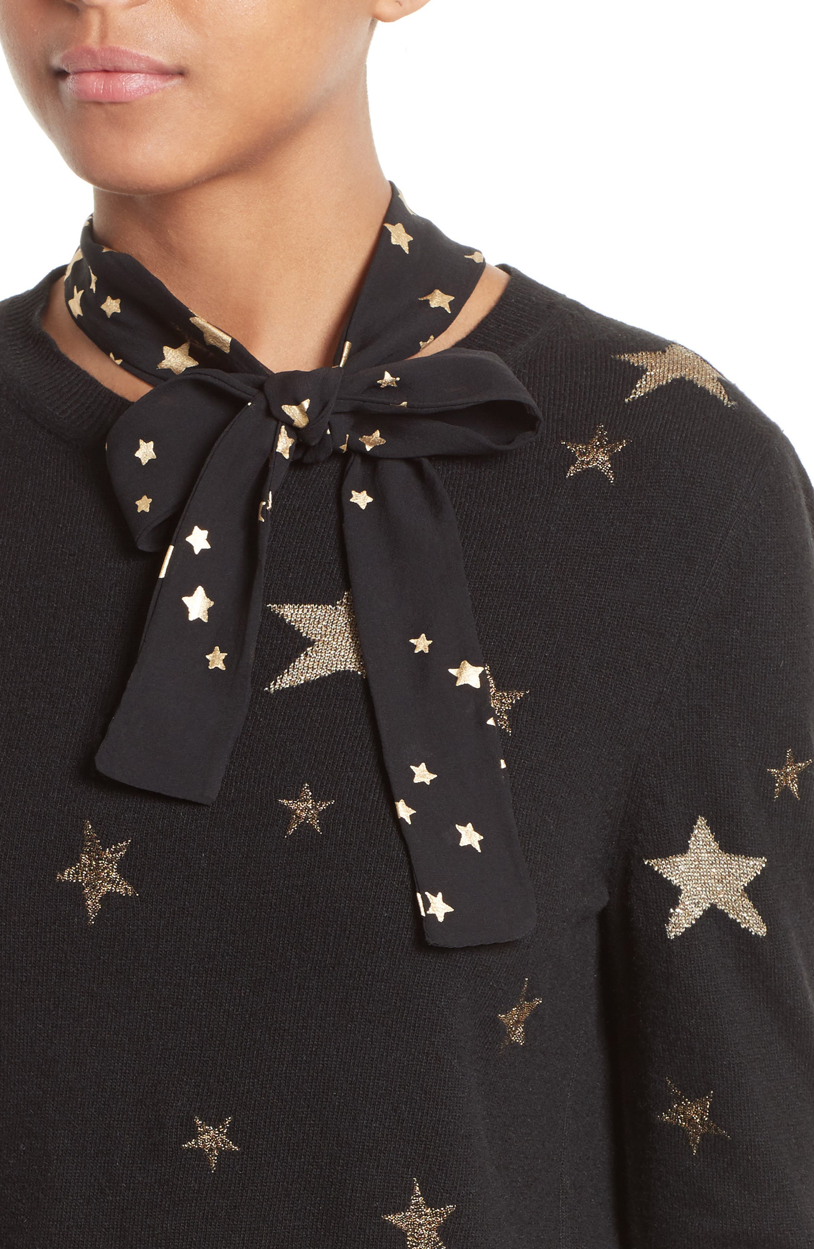 Tie Neck Star Sweater,                             Alternate thumbnail 4, color,                             001