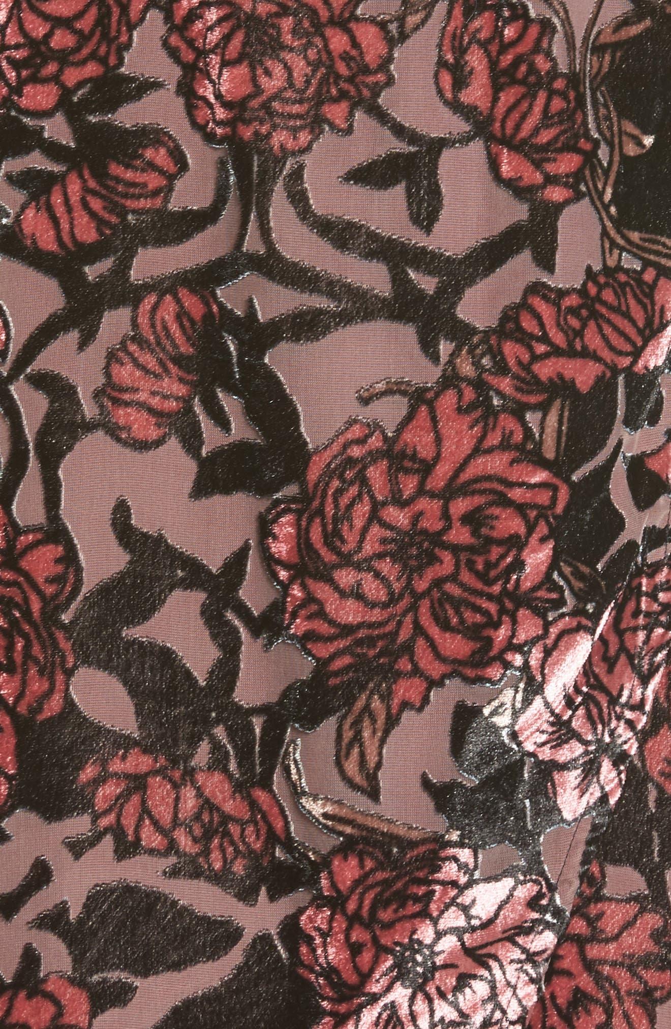 Burnout Velvet A-Line Dress,                             Alternate thumbnail 5, color,                             001