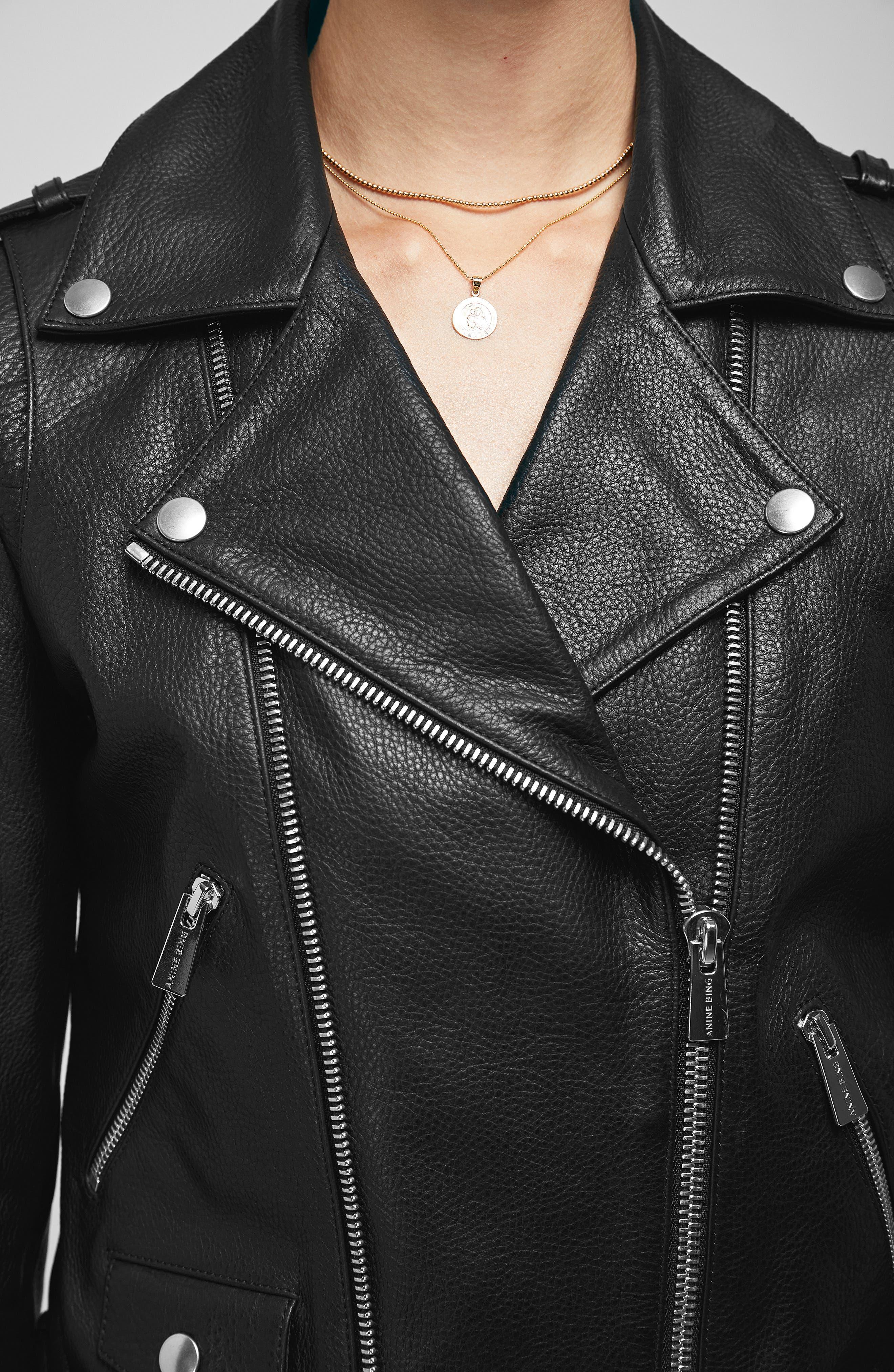 Cropped Leather Moto Jacket,                             Alternate thumbnail 4, color,                             BLACK