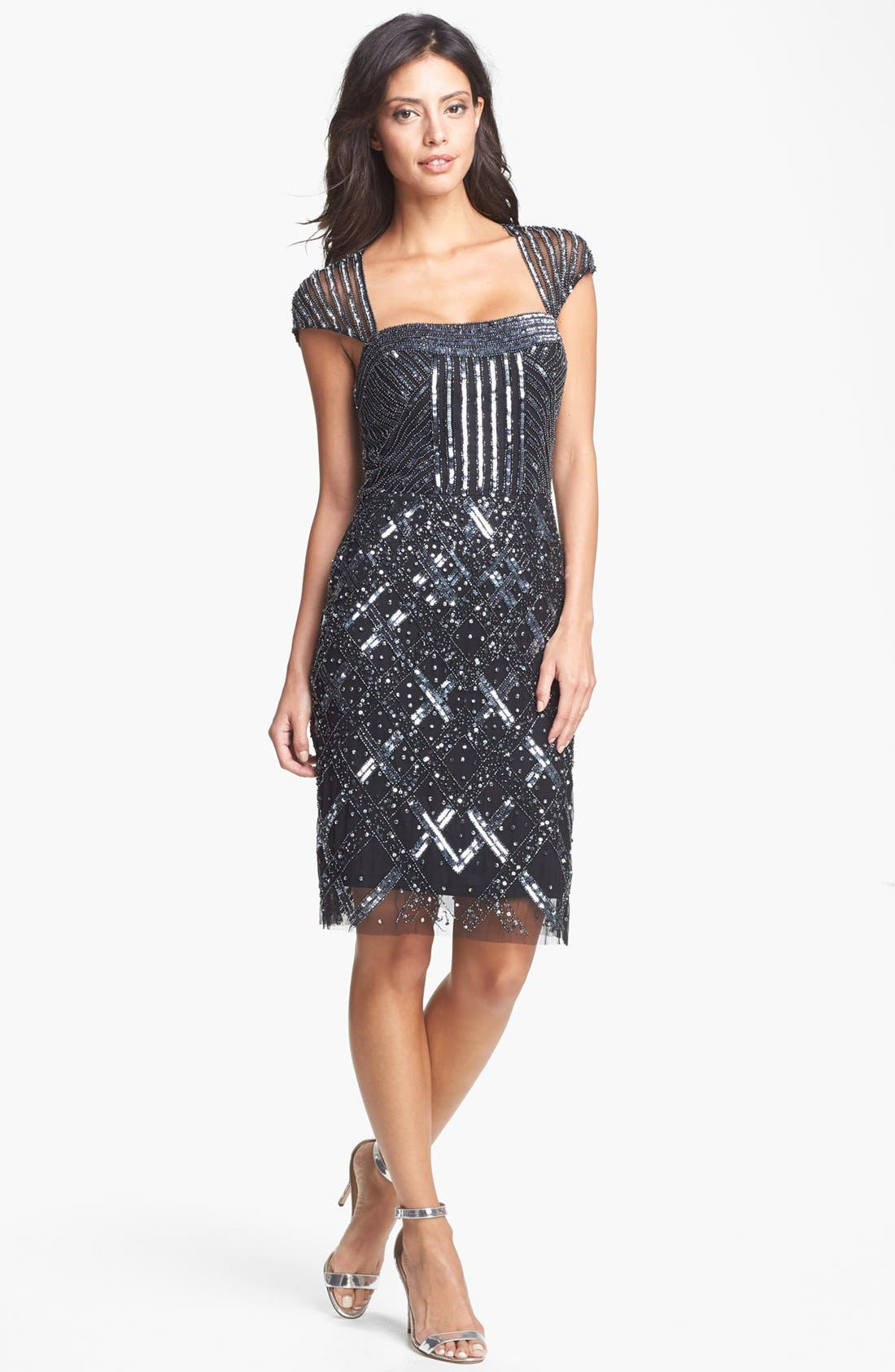 ADRIANNA PAPELL Embellished Mesh Dress, Main, color, 001