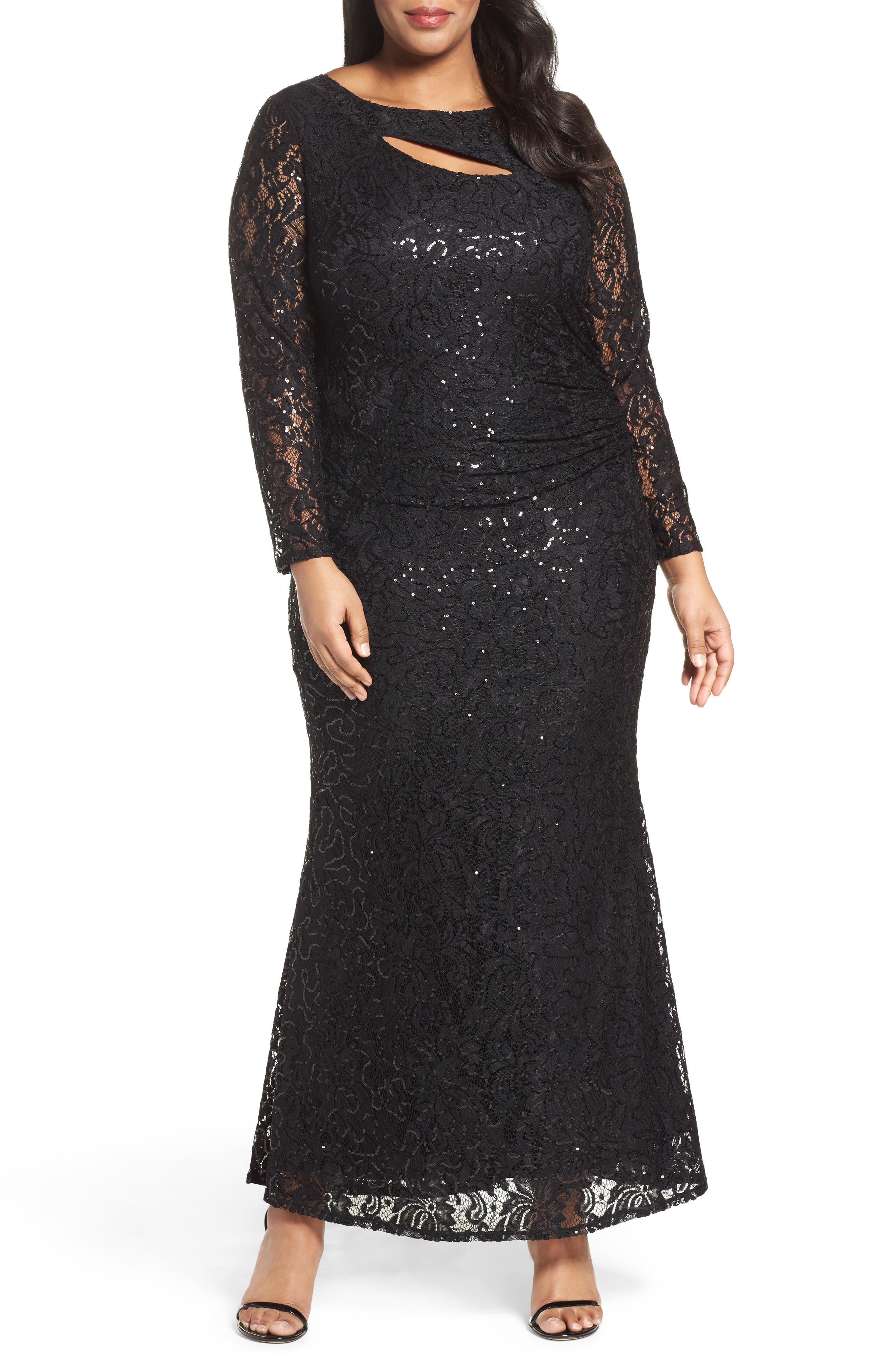 Sequin Lace Keyhole Gown,                             Main thumbnail 1, color,                             001