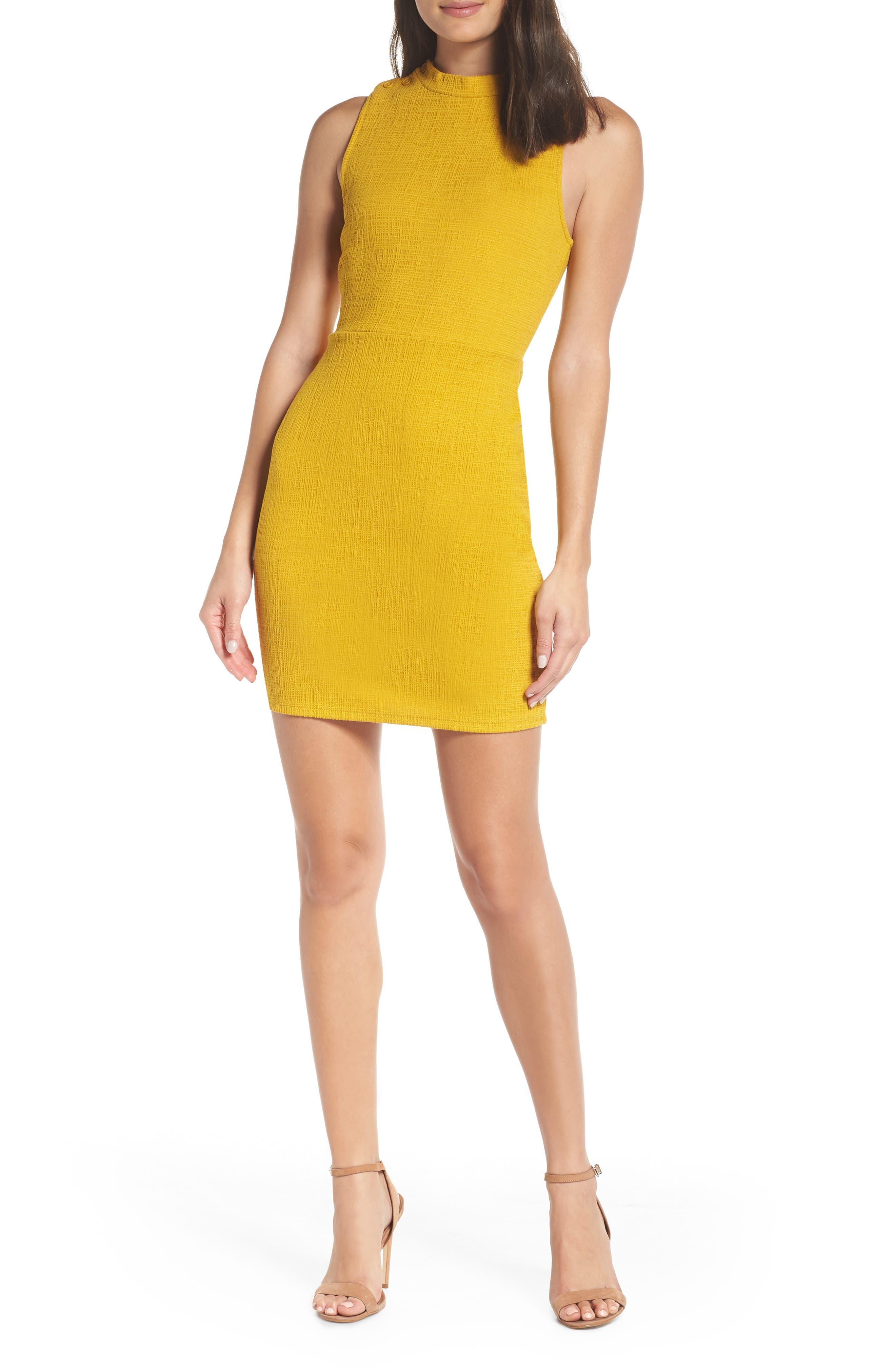 Bb Dakota Sleeveless Jacquard Sheath Dress, Yellow