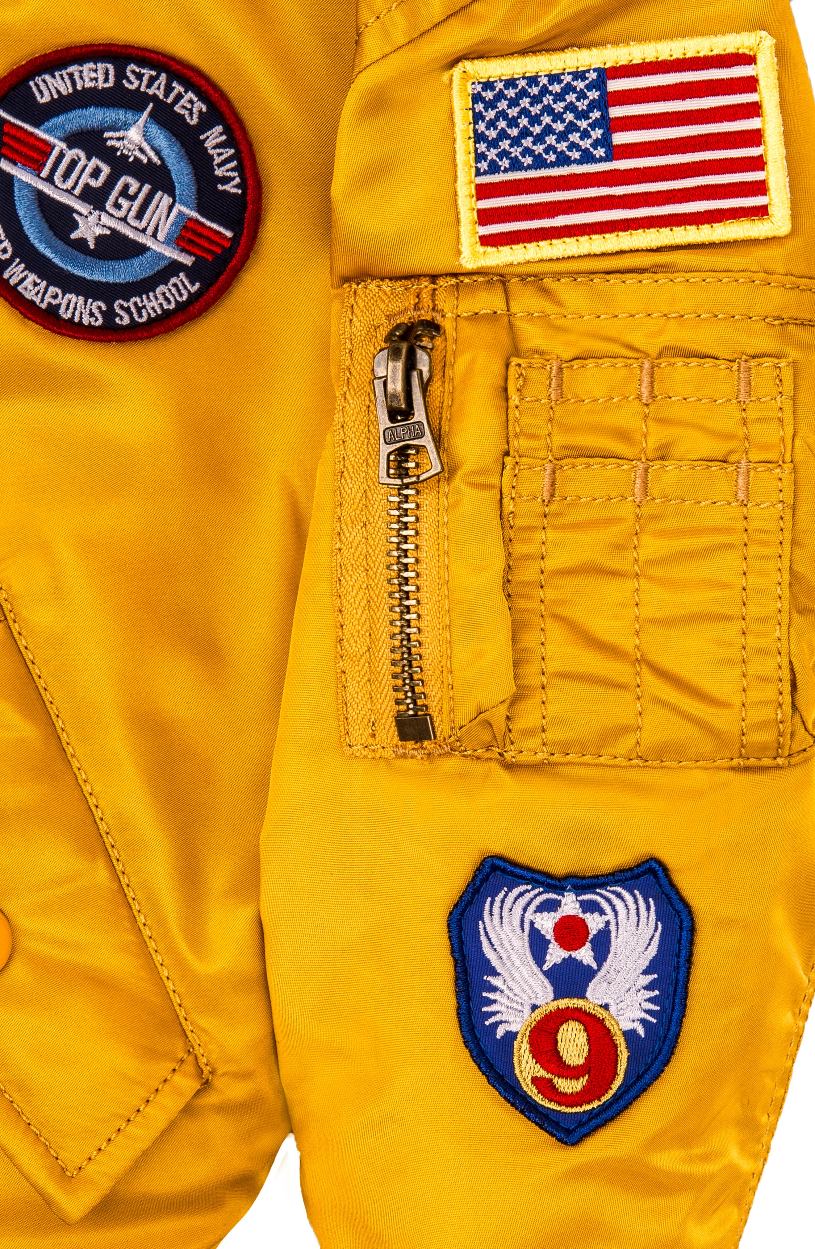 MA-1 Patch Flight Jacket,                             Alternate thumbnail 5, color,                             GOLDEN YELLOW