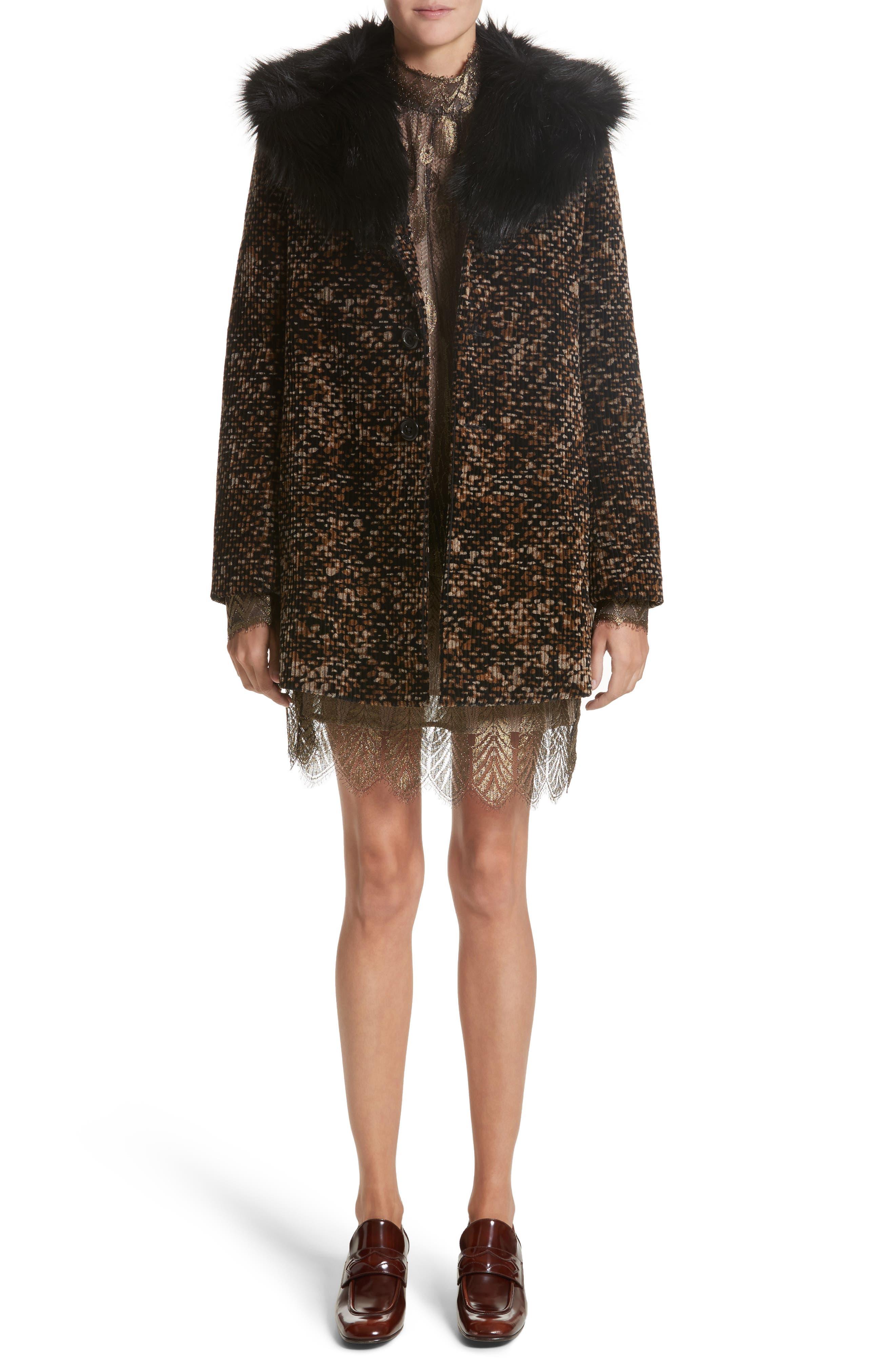Faux Fur Trim Corduroy Coat,                             Alternate thumbnail 7, color,                             001
