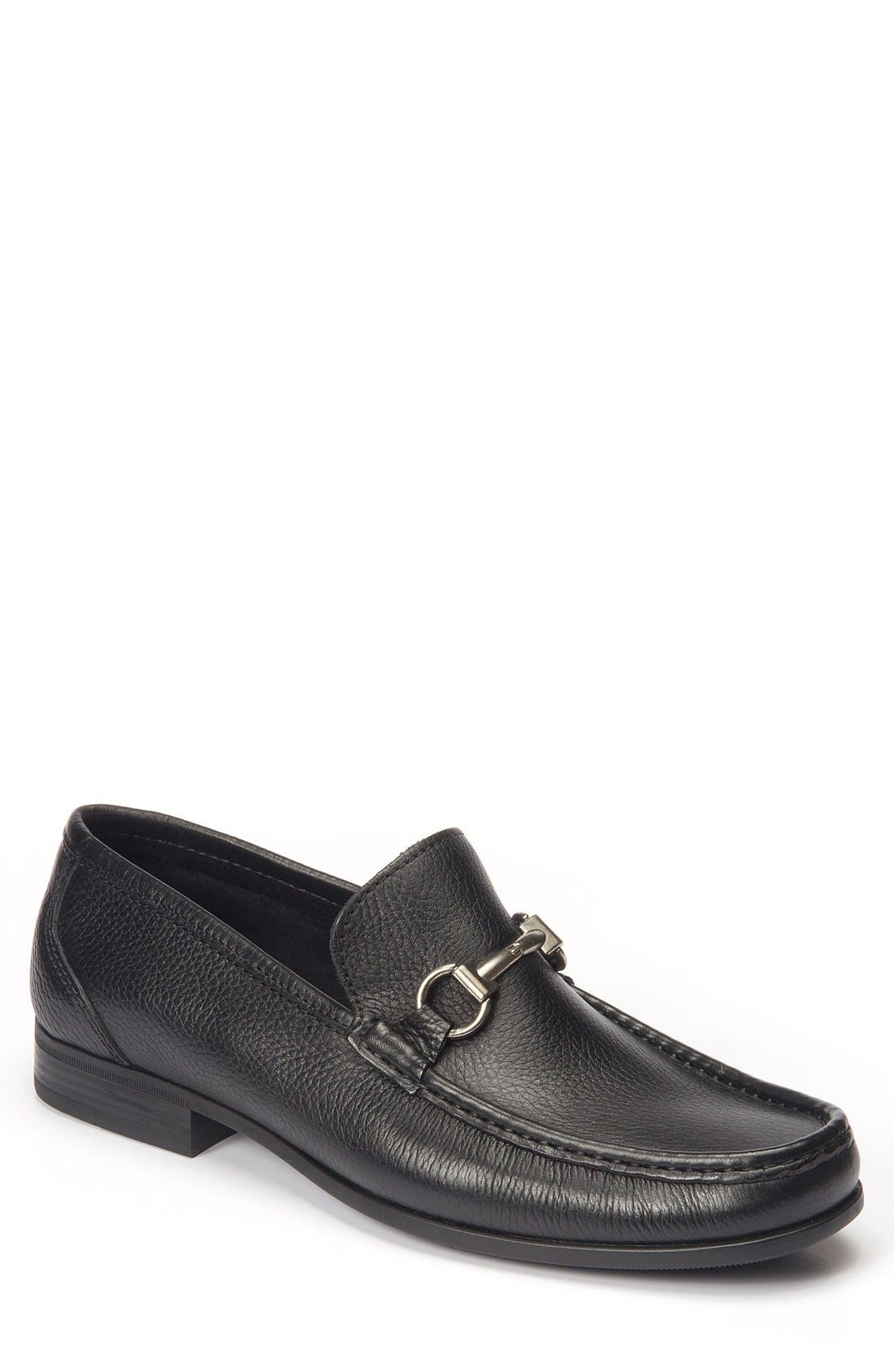 'Malibu' Suede Bit Loafer,                             Main thumbnail 1, color,                             BLACK LEATHER