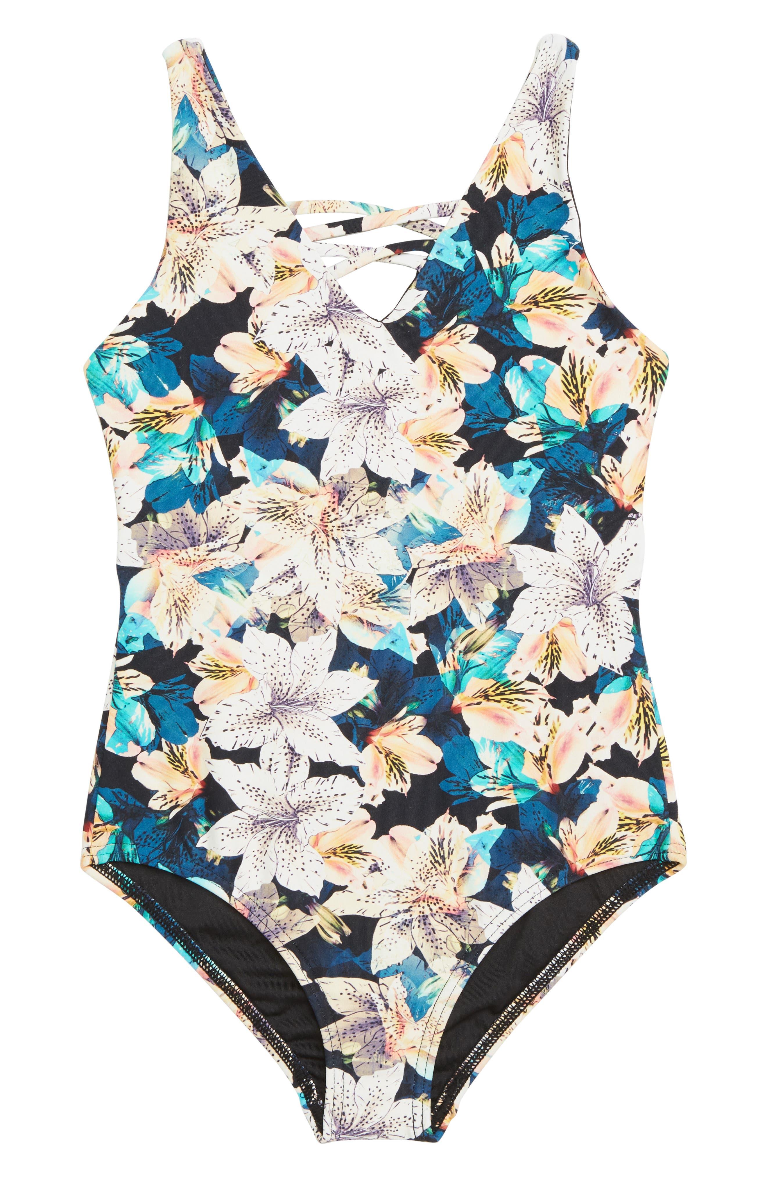Tiller One-Piece Swimsuit,                             Main thumbnail 1, color,                             MULTI