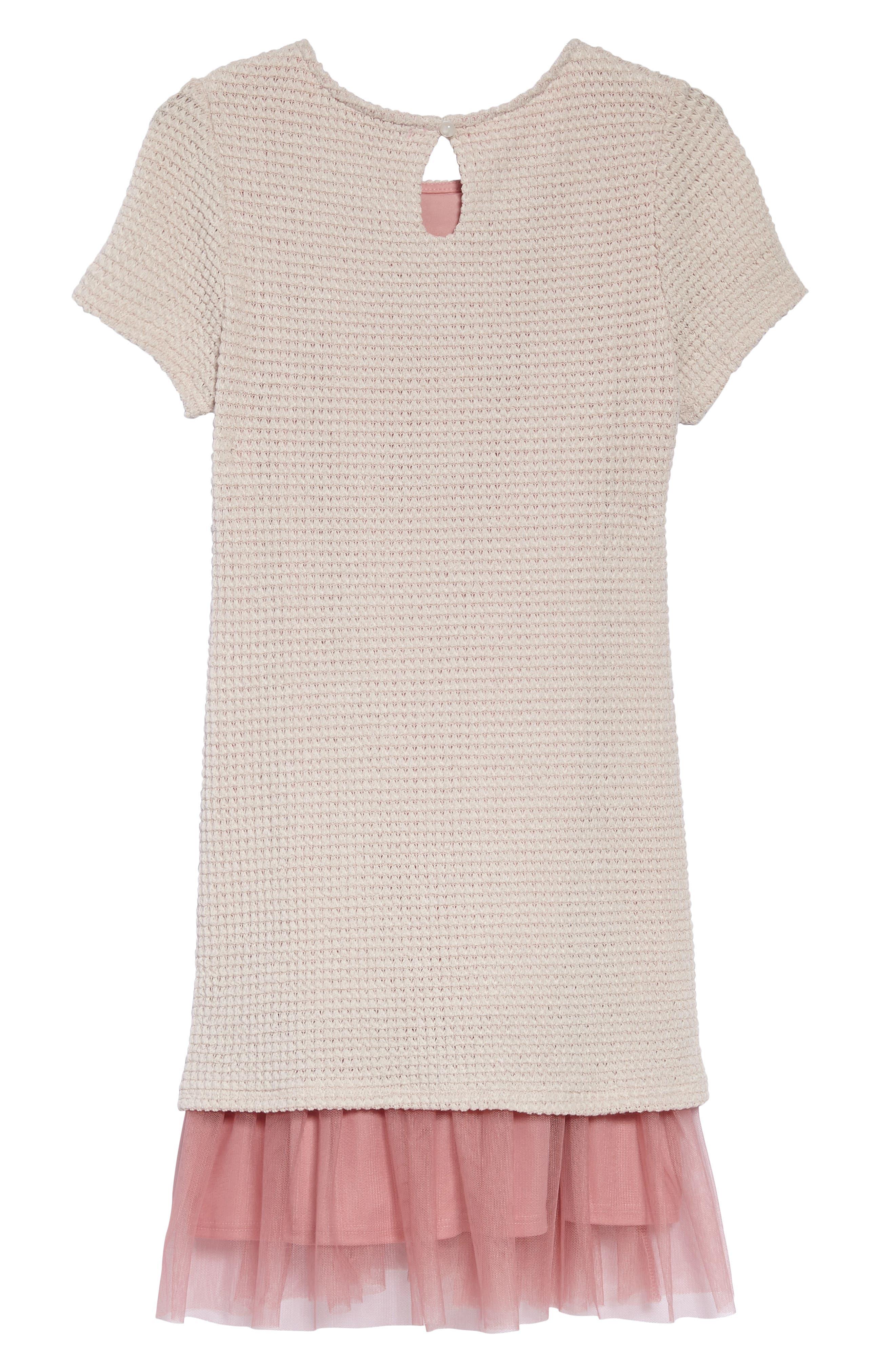 Sweater Knit Tulle Dress,                             Alternate thumbnail 2, color,