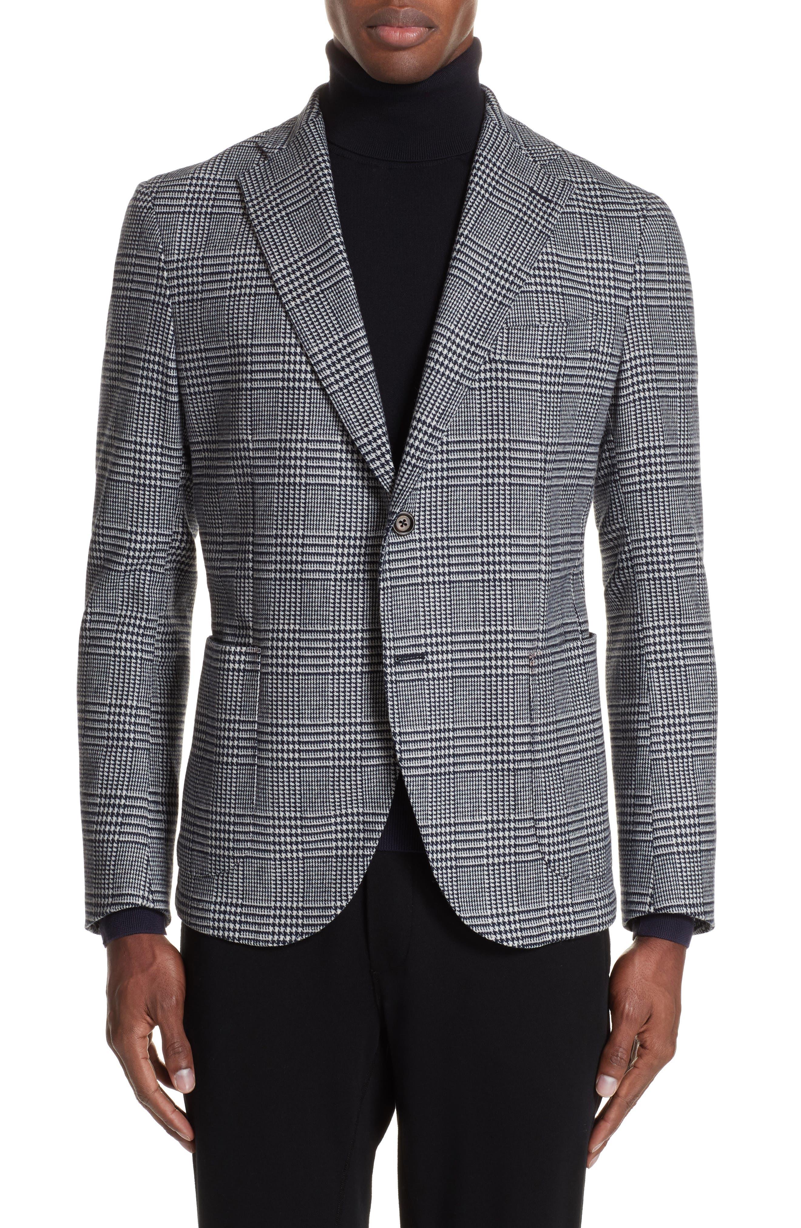 Trim Fit Plaid Stretch Wool Blend Sport Coat,                         Main,                         color, NAVY