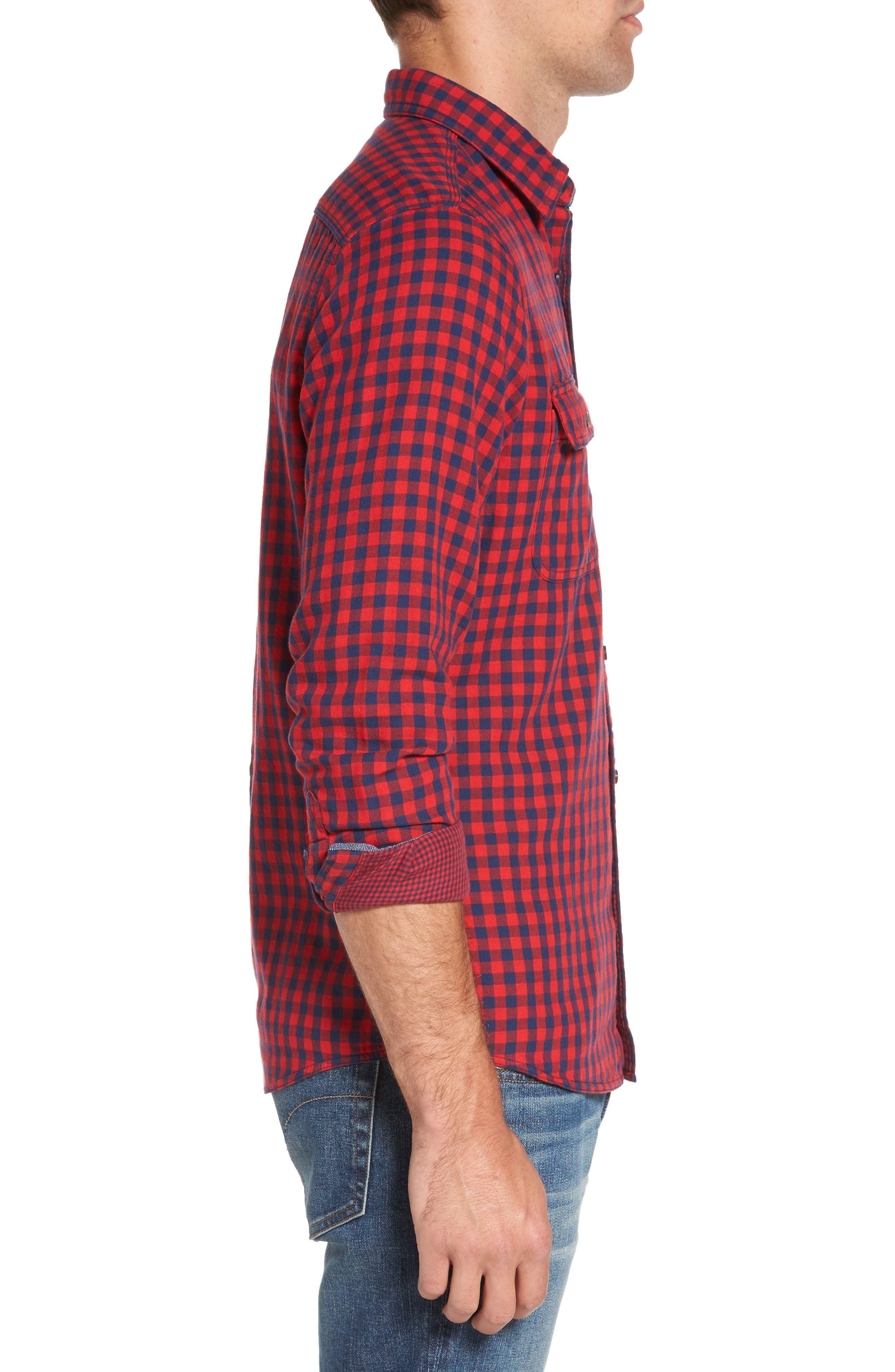 Buffalo Check Trim Fit Sport Shirt,                             Alternate thumbnail 3, color,                             610