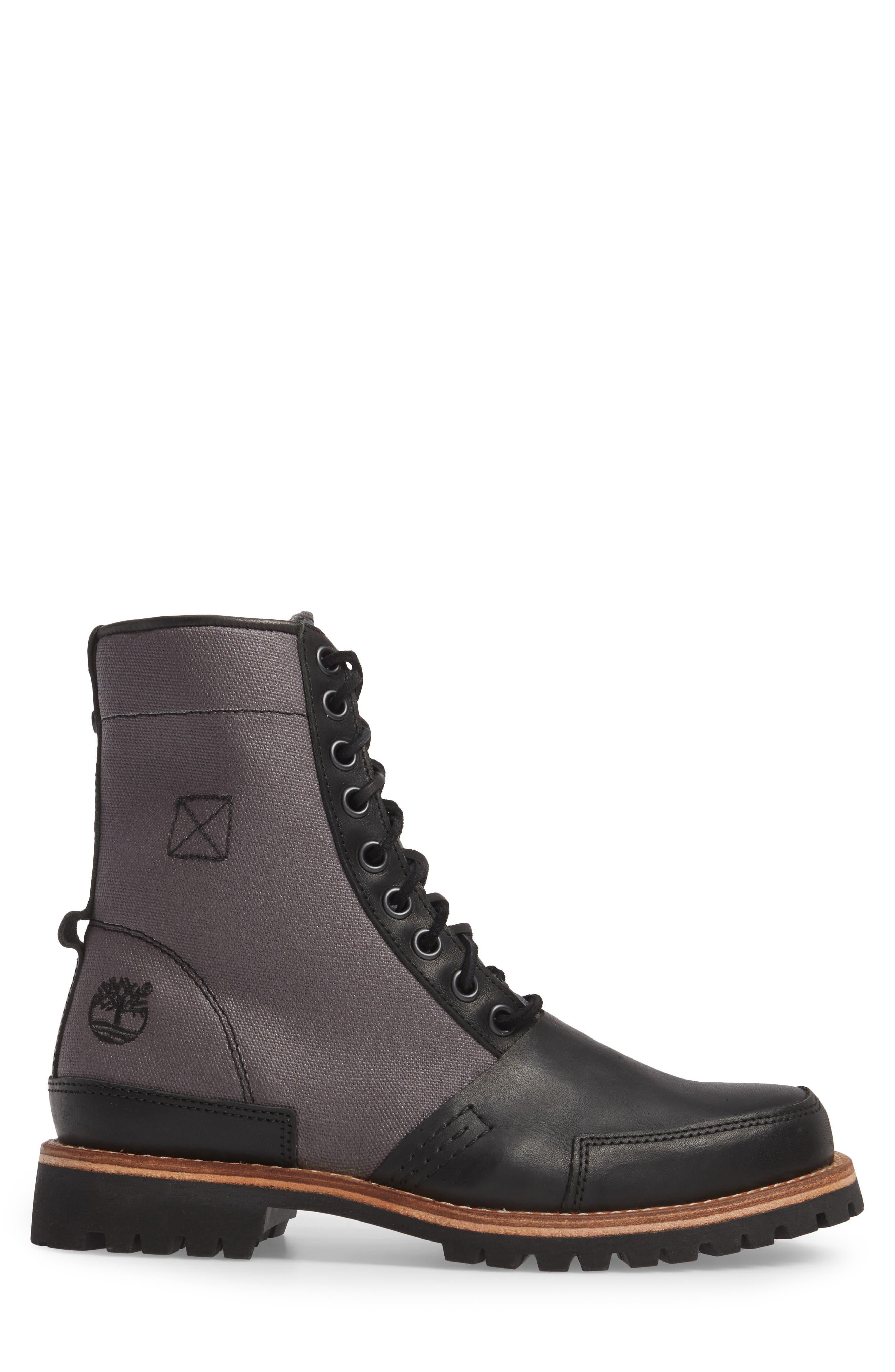 LTD Lug Mixed Media Water-Repellent Boot,                             Alternate thumbnail 3, color,                             001