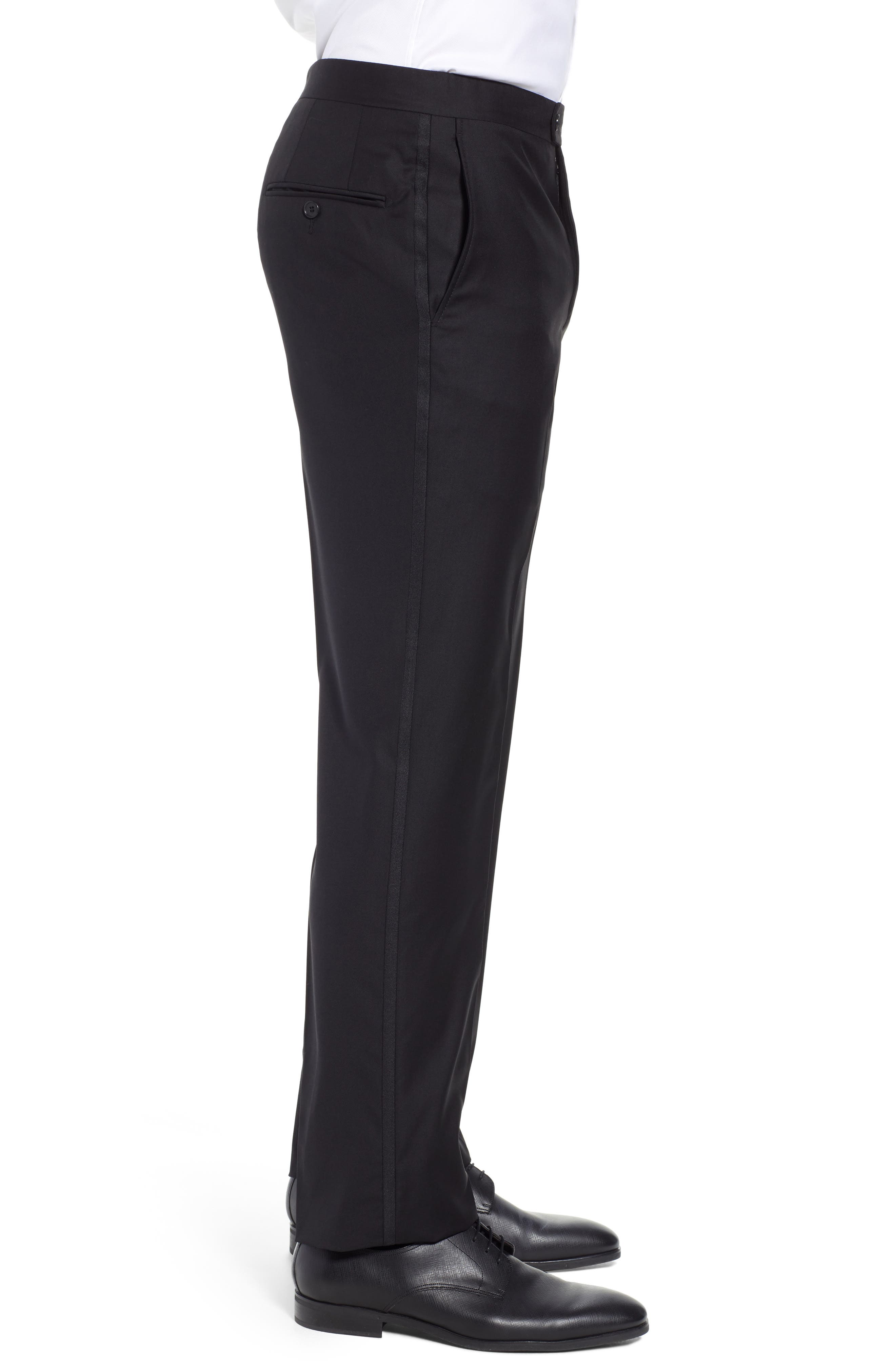 Classic B Fit Flat Front Solid Wool Trousers,                             Alternate thumbnail 3, color,                             BLACK SOLID