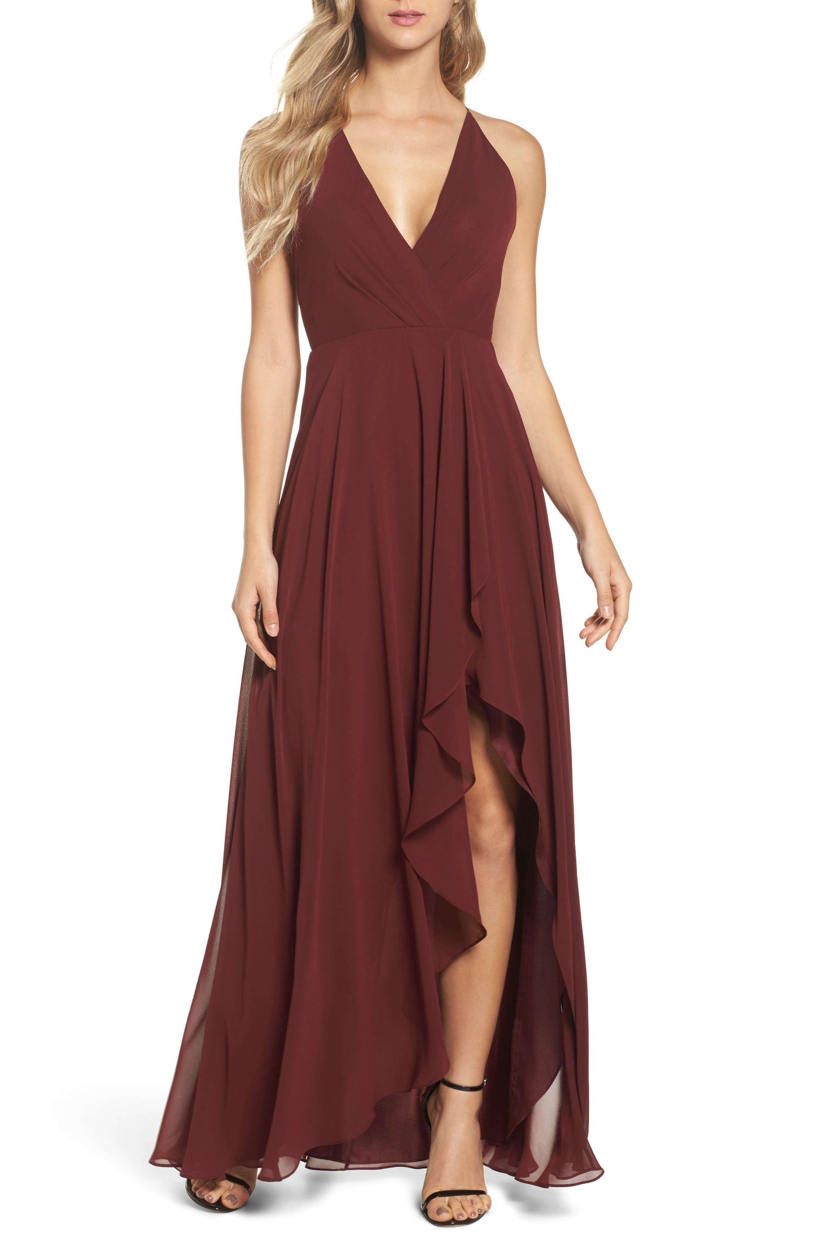 Jenny Yoo Farrah Ruffle Skirt Chiffon Gown, Burgundy