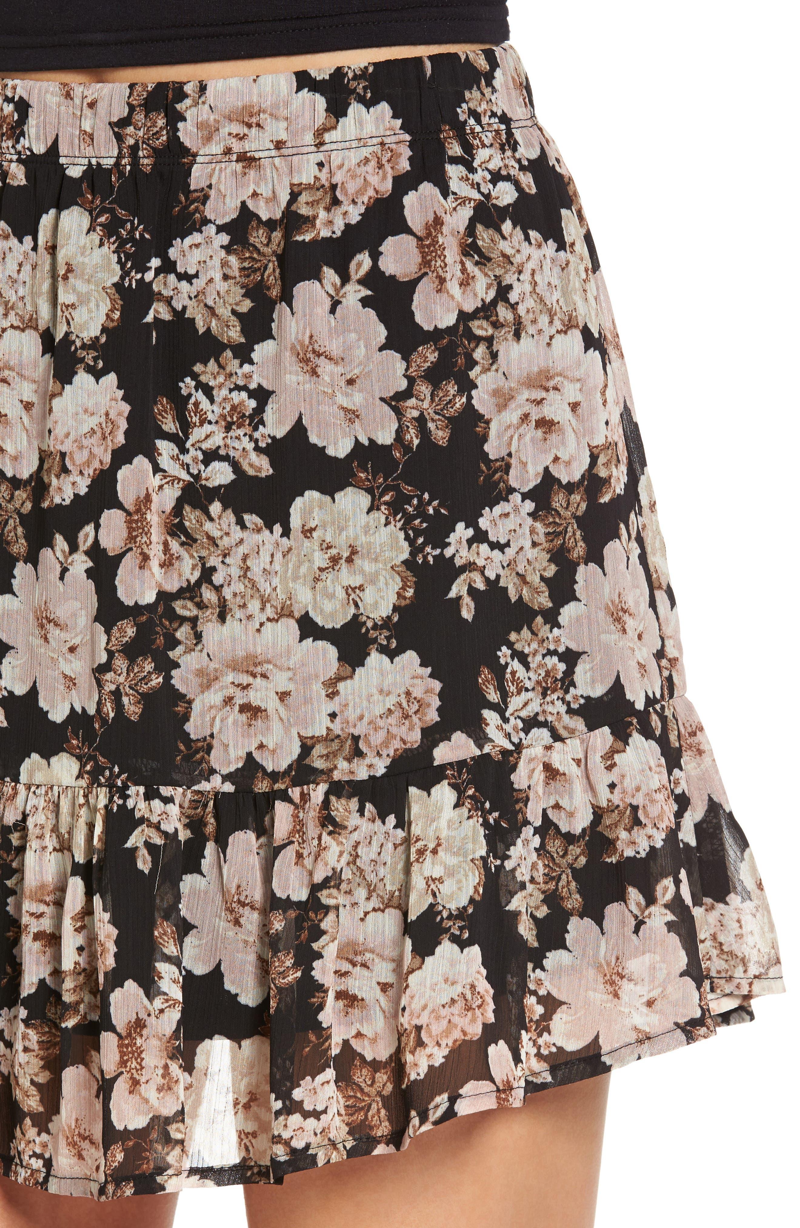 Floral Print Drop Waist Skirt,                             Alternate thumbnail 4, color,                             001