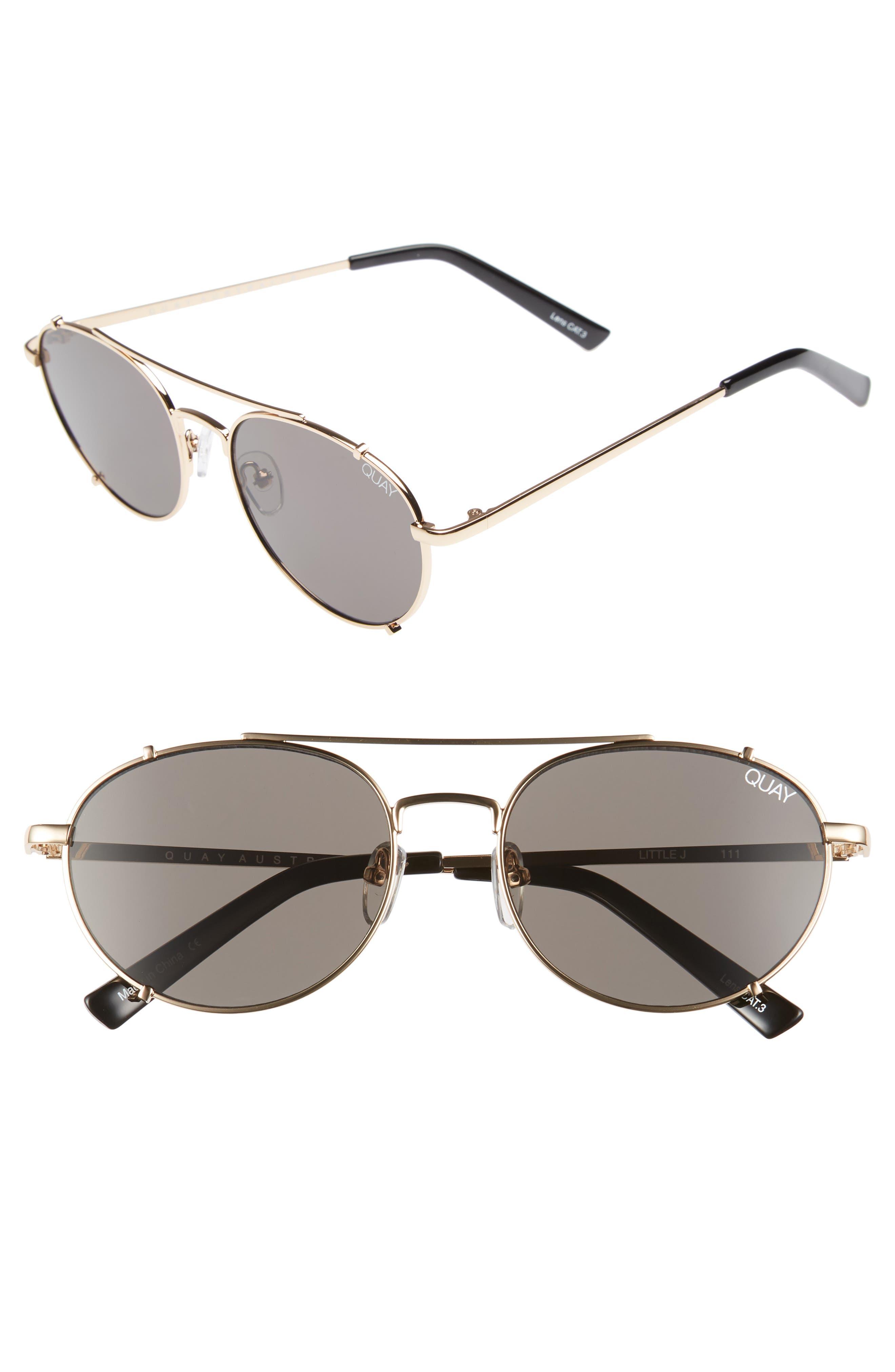 Little J 55mm Aviator Sunglasses,                             Main thumbnail 1, color,                             GOLD/ SMOKE