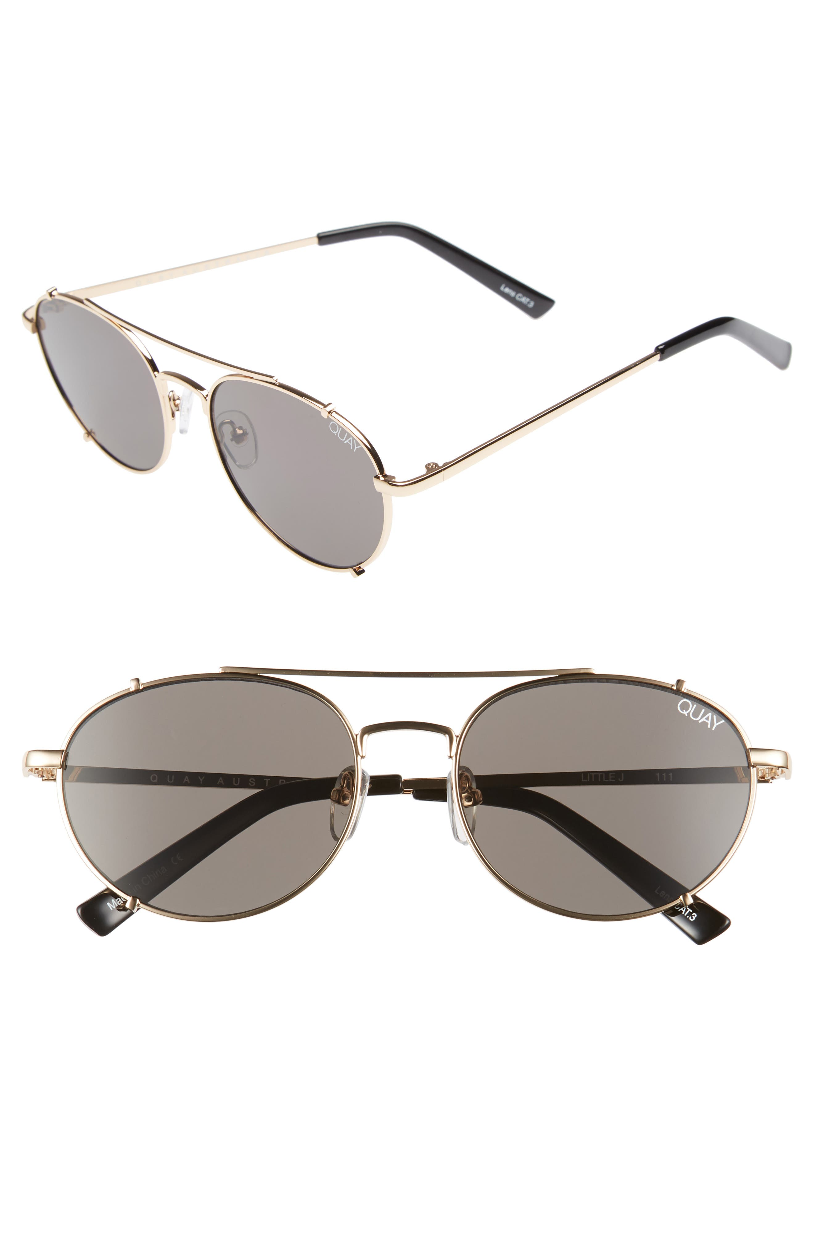 Little J 55mm Aviator Sunglasses,                         Main,                         color, GOLD/ SMOKE