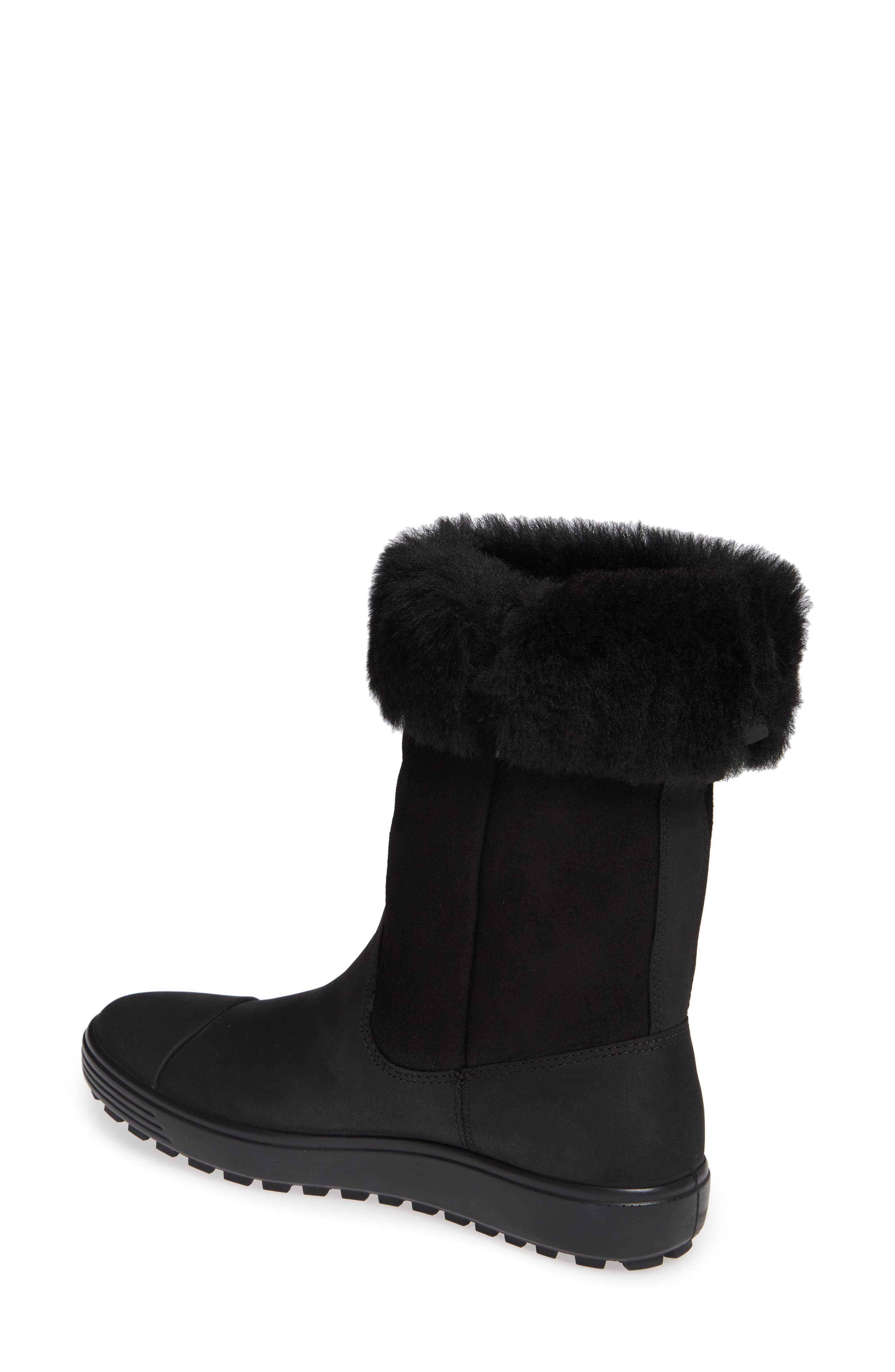 Soft 7 Tred Waterproof Genuine Shearling Lined Boot,                             Alternate thumbnail 3, color,                             BLACK NUBUCK LEATHER