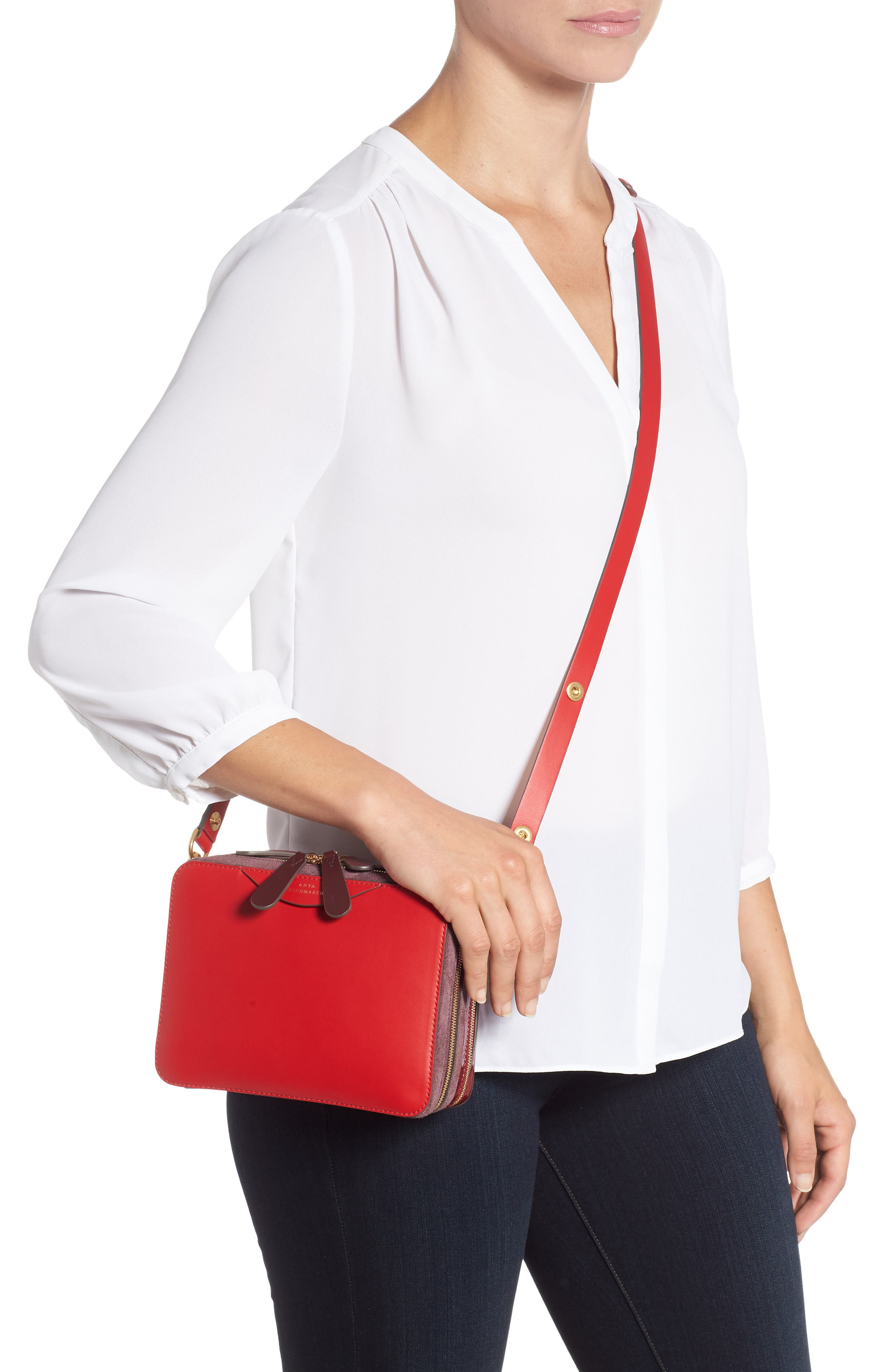 The Double Stack Leather Crossbody Bag,                             Alternate thumbnail 2, color,                             BRIGHT RED/ OXBLOOD
