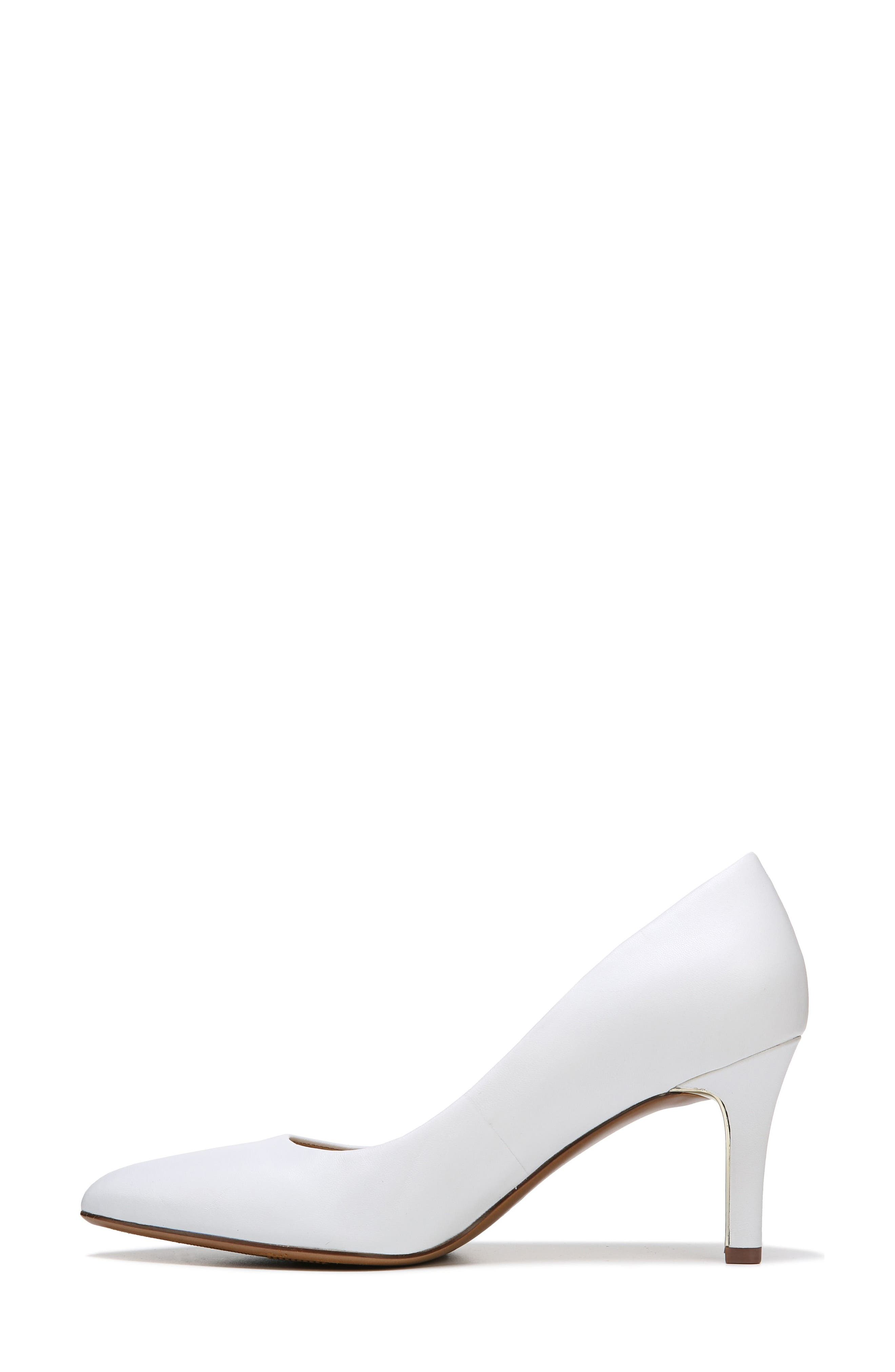 Natalie Pointy Toe Pump,                             Alternate thumbnail 3, color,                             WHITE LEATHER