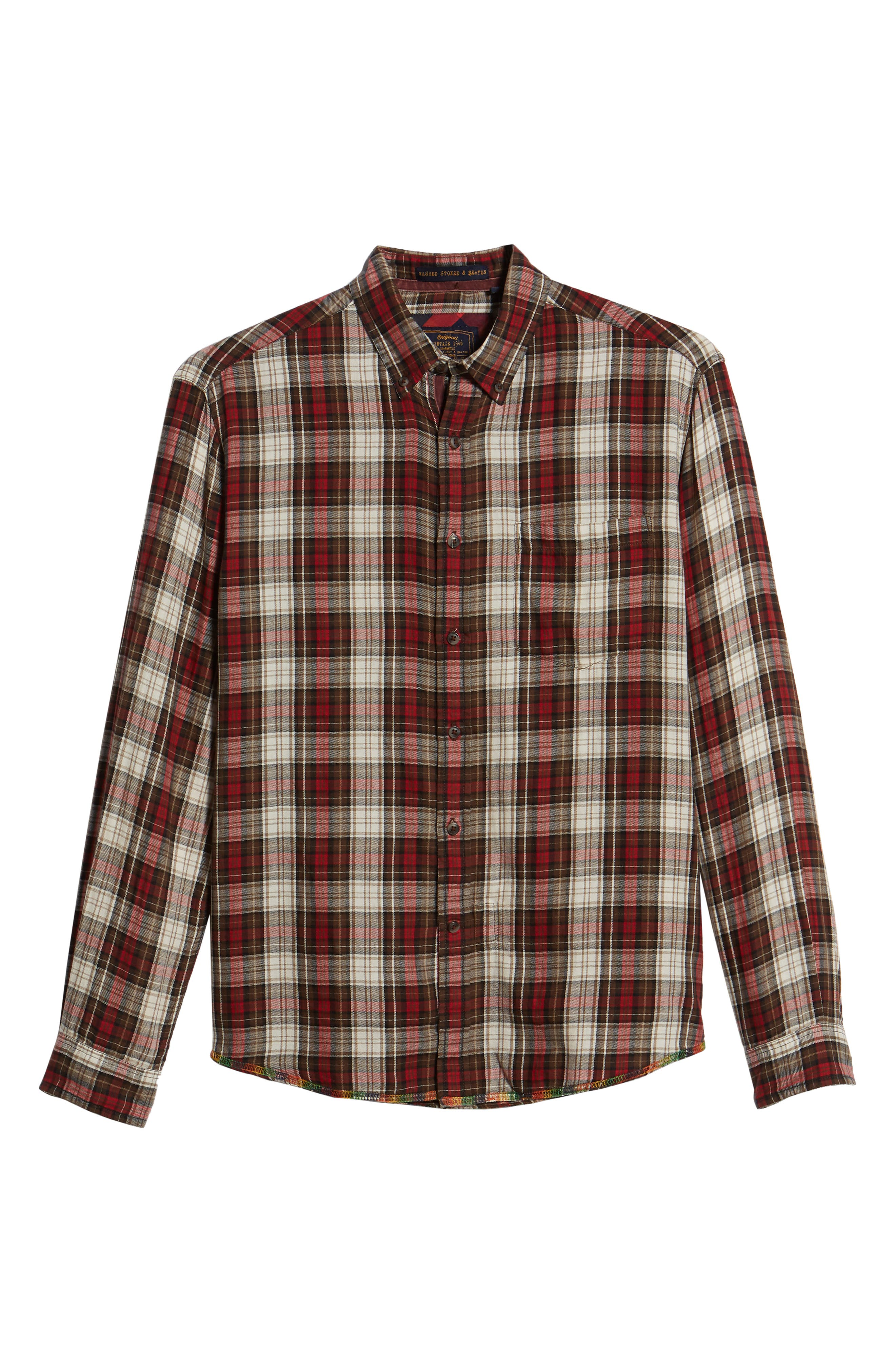 Featherweight Twill Sport Shirt,                             Alternate thumbnail 6, color,                             BROWN