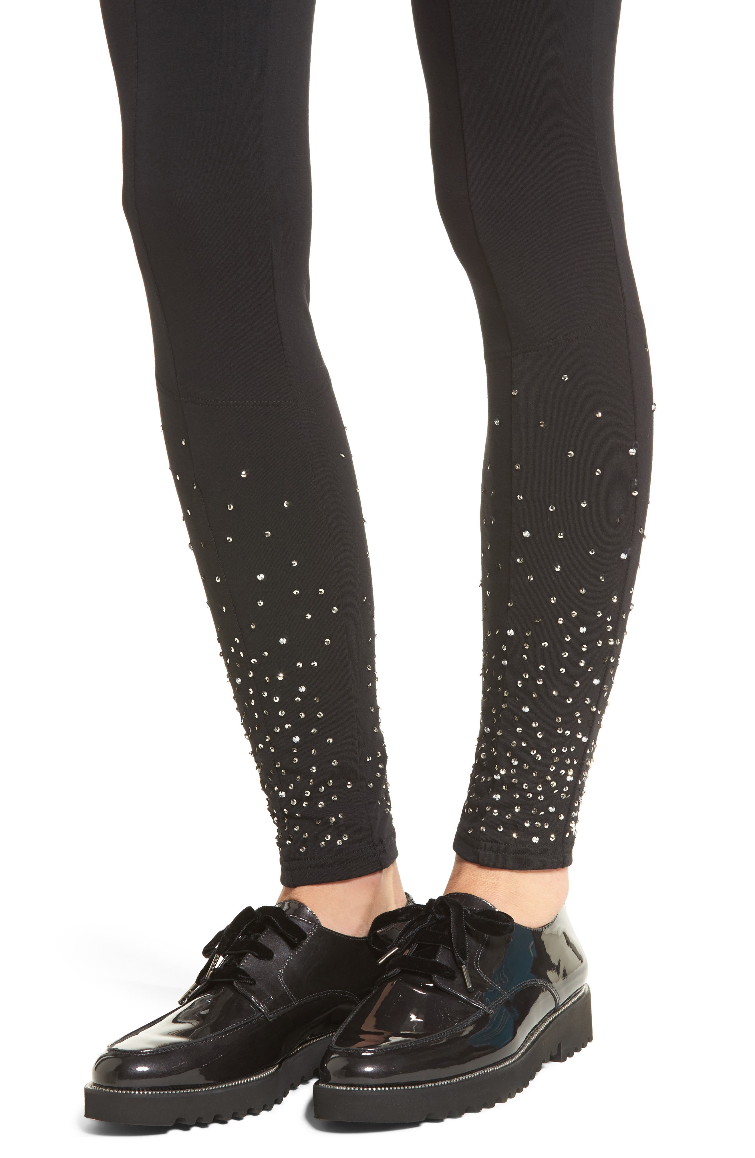 Sequin Embellished Leggings,                             Alternate thumbnail 4, color,                             001