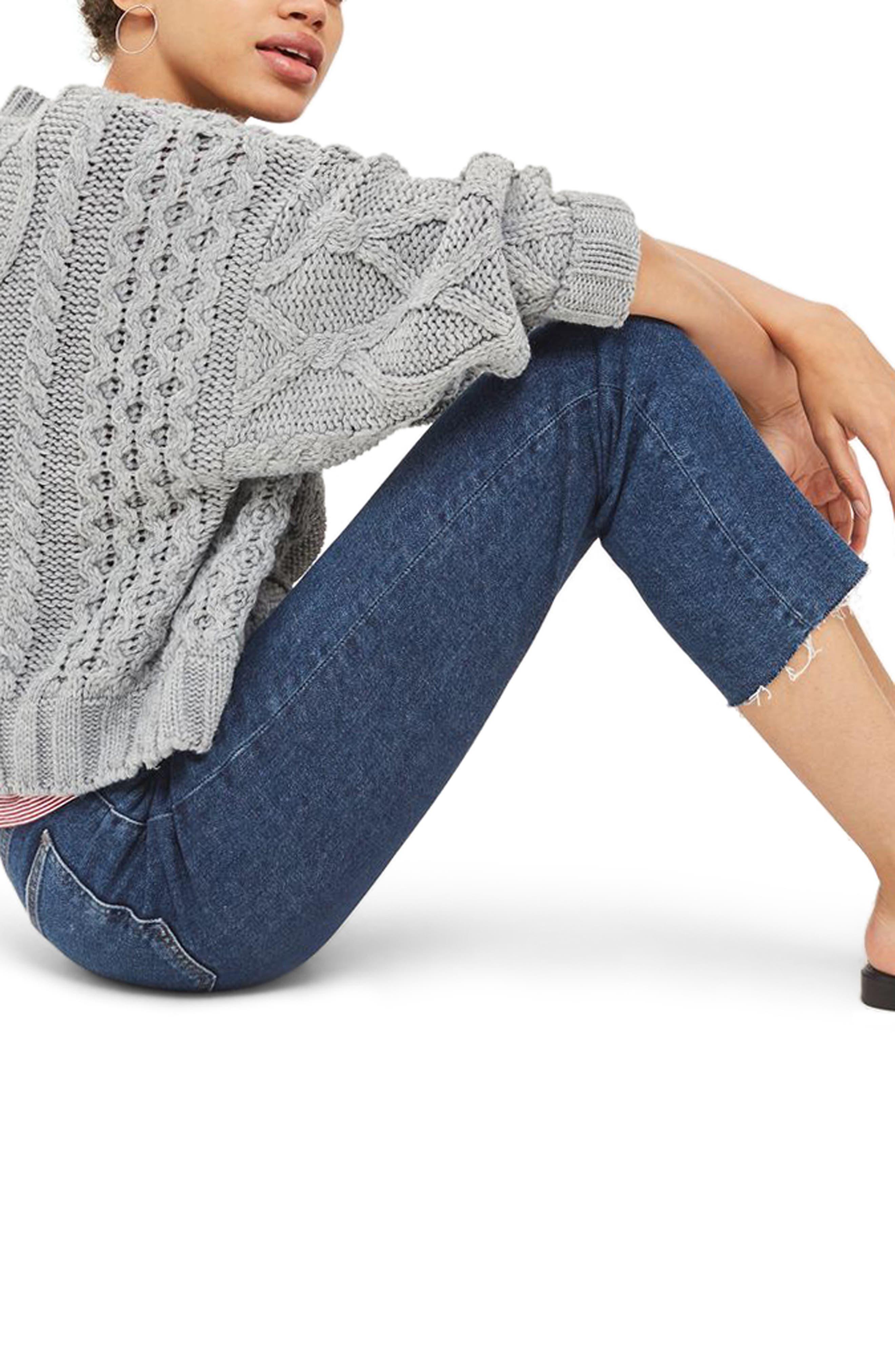 Crop Straight Leg Jeans,                             Alternate thumbnail 3, color,