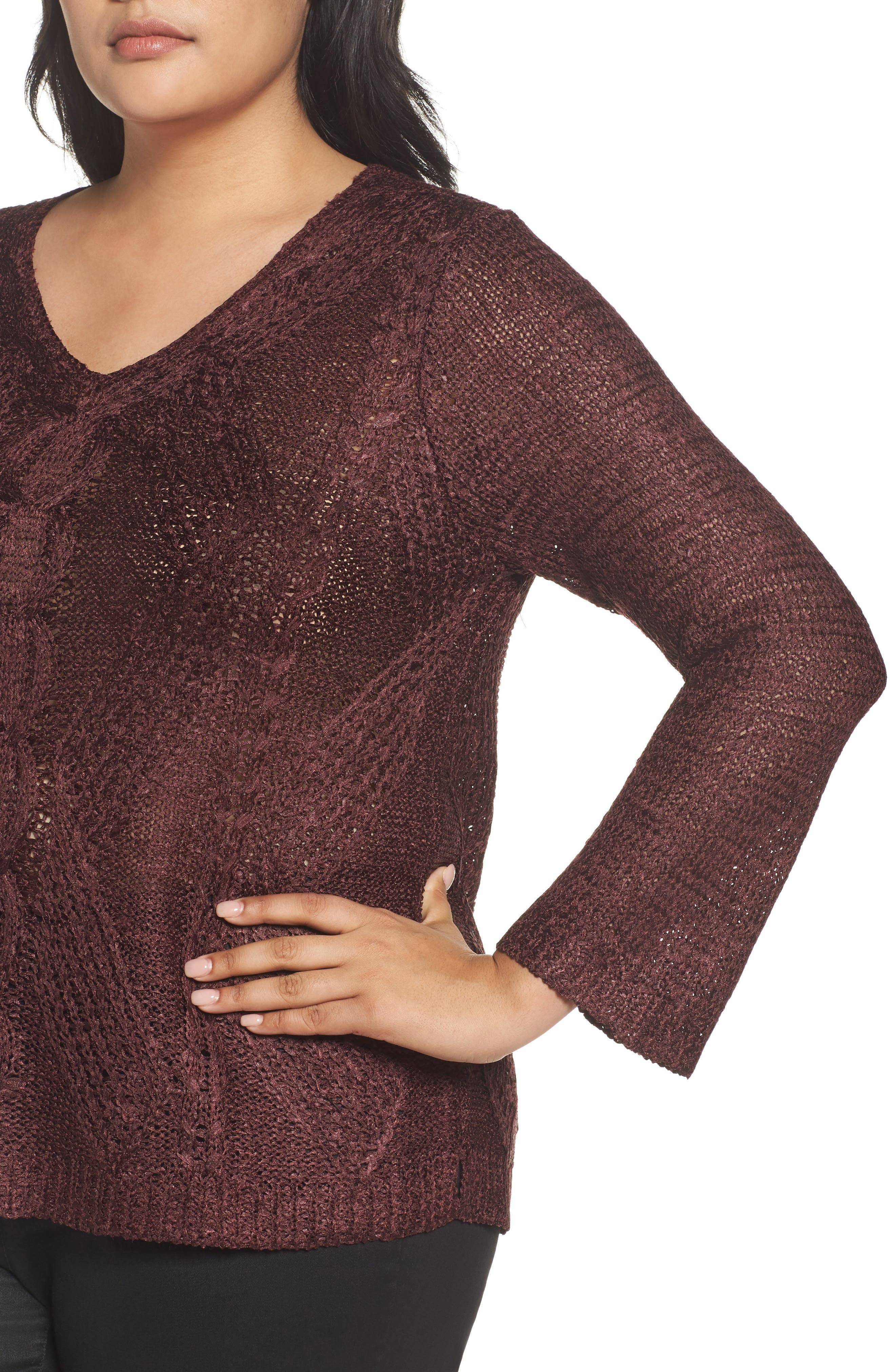 Cable Wave Sweater,                             Alternate thumbnail 8, color,