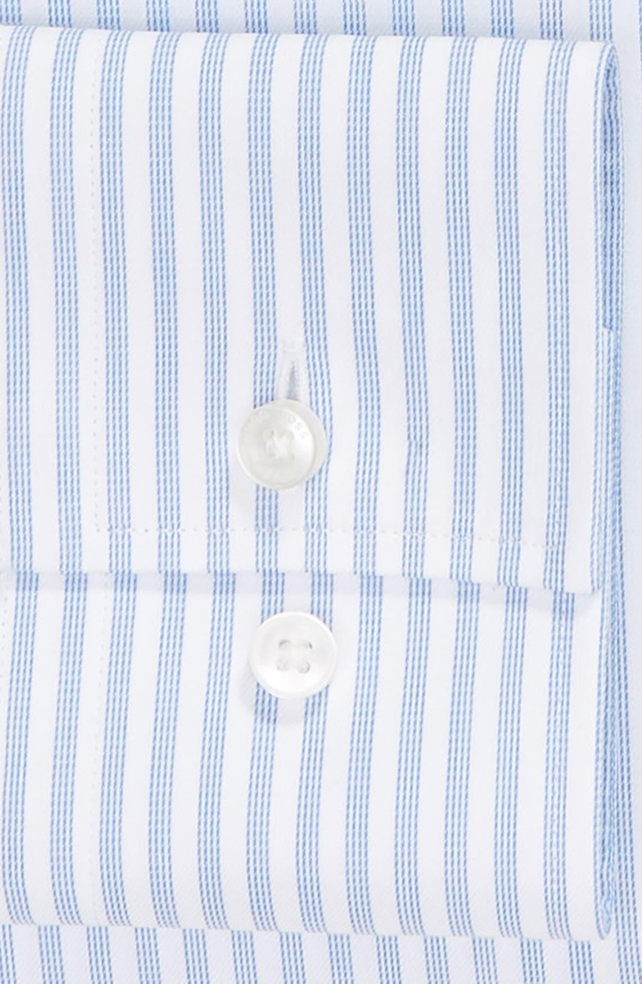 Jenno Trim Fit Stripe Dress Shirt,                             Alternate thumbnail 6, color,                             BLUE