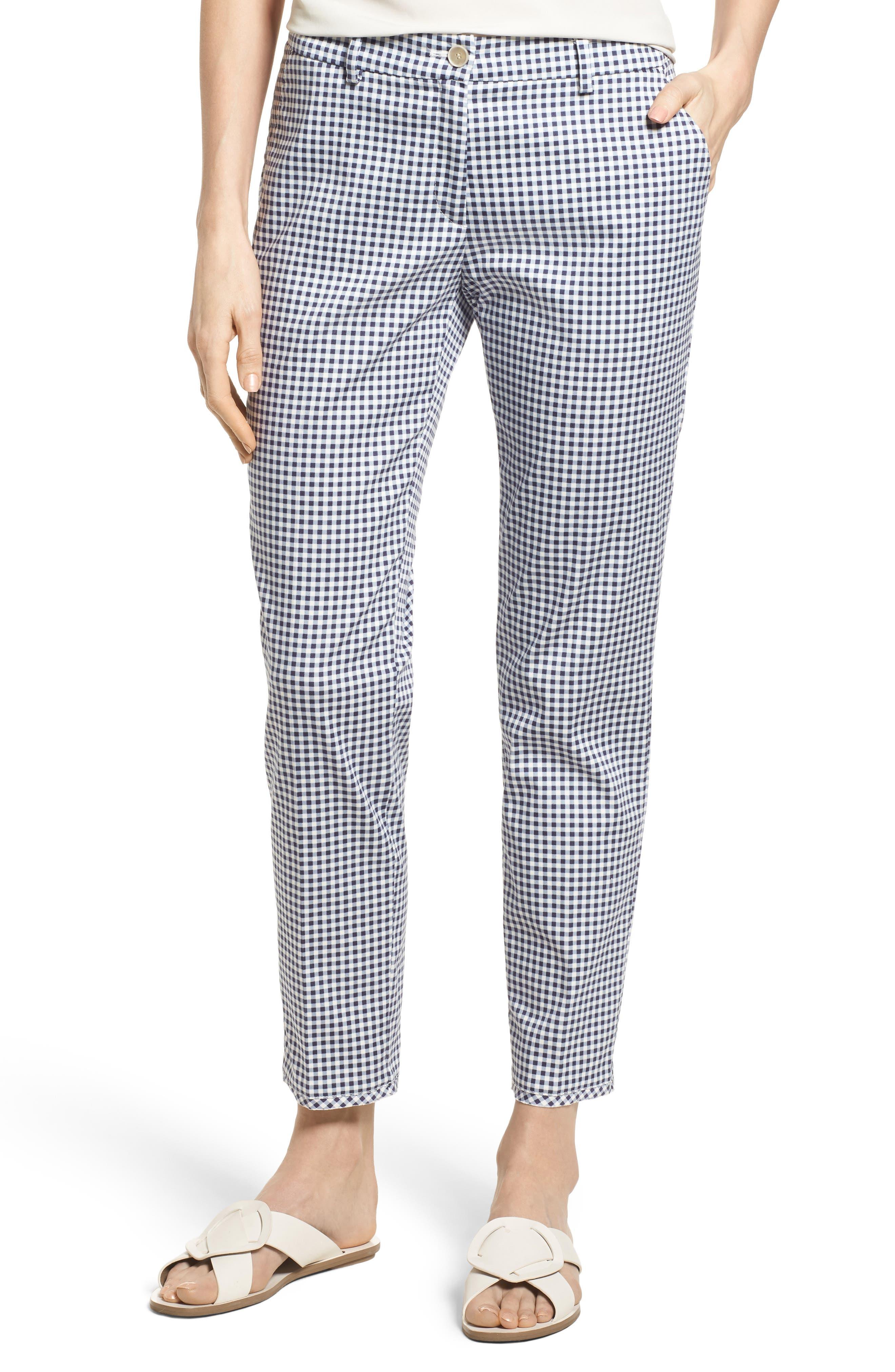 Maron Gingham Stretch Cotton Pants,                         Main,                         color, OCEAN