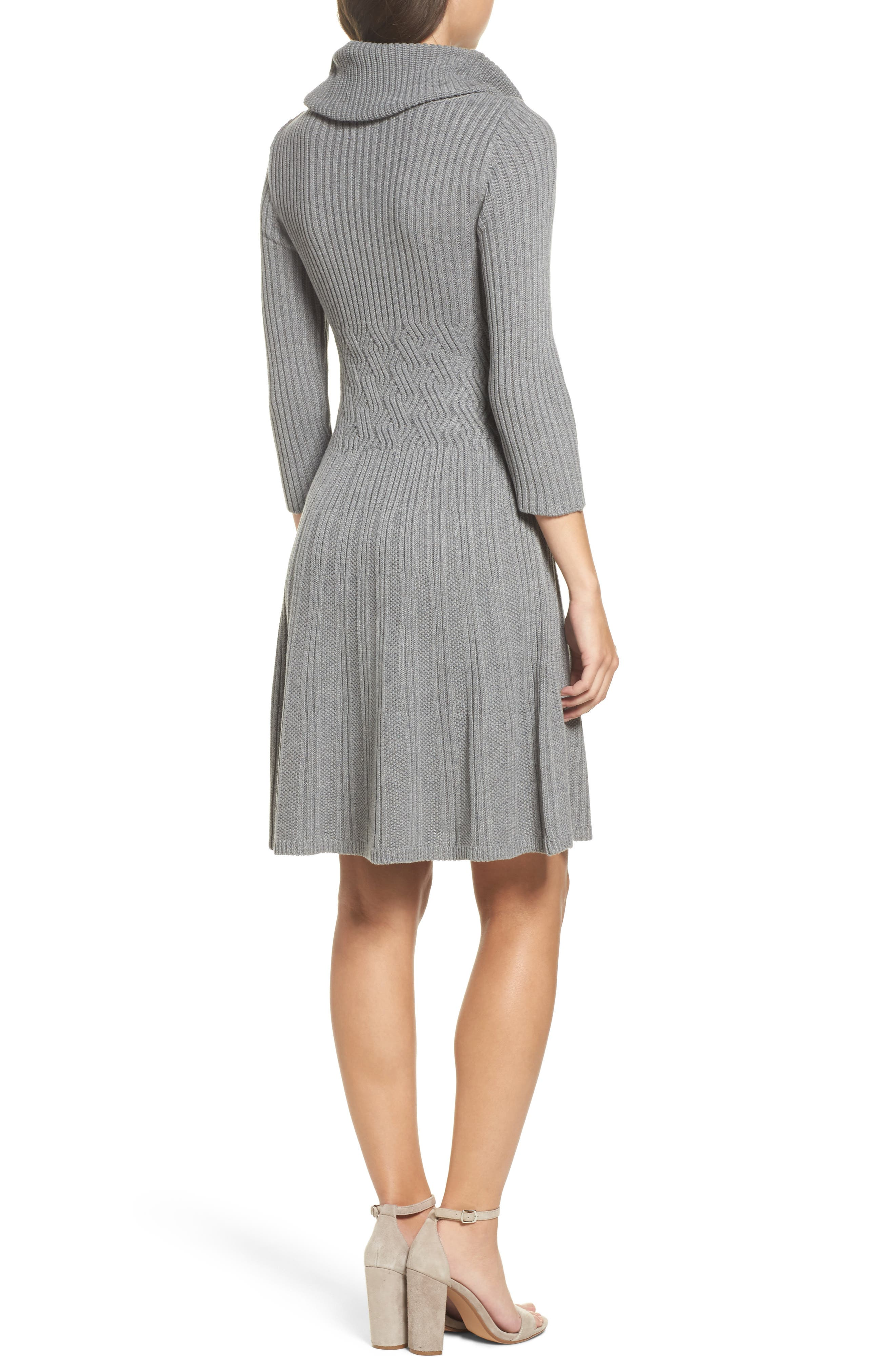 Cowl Neck Sweater Dress,                             Alternate thumbnail 2, color,                             030