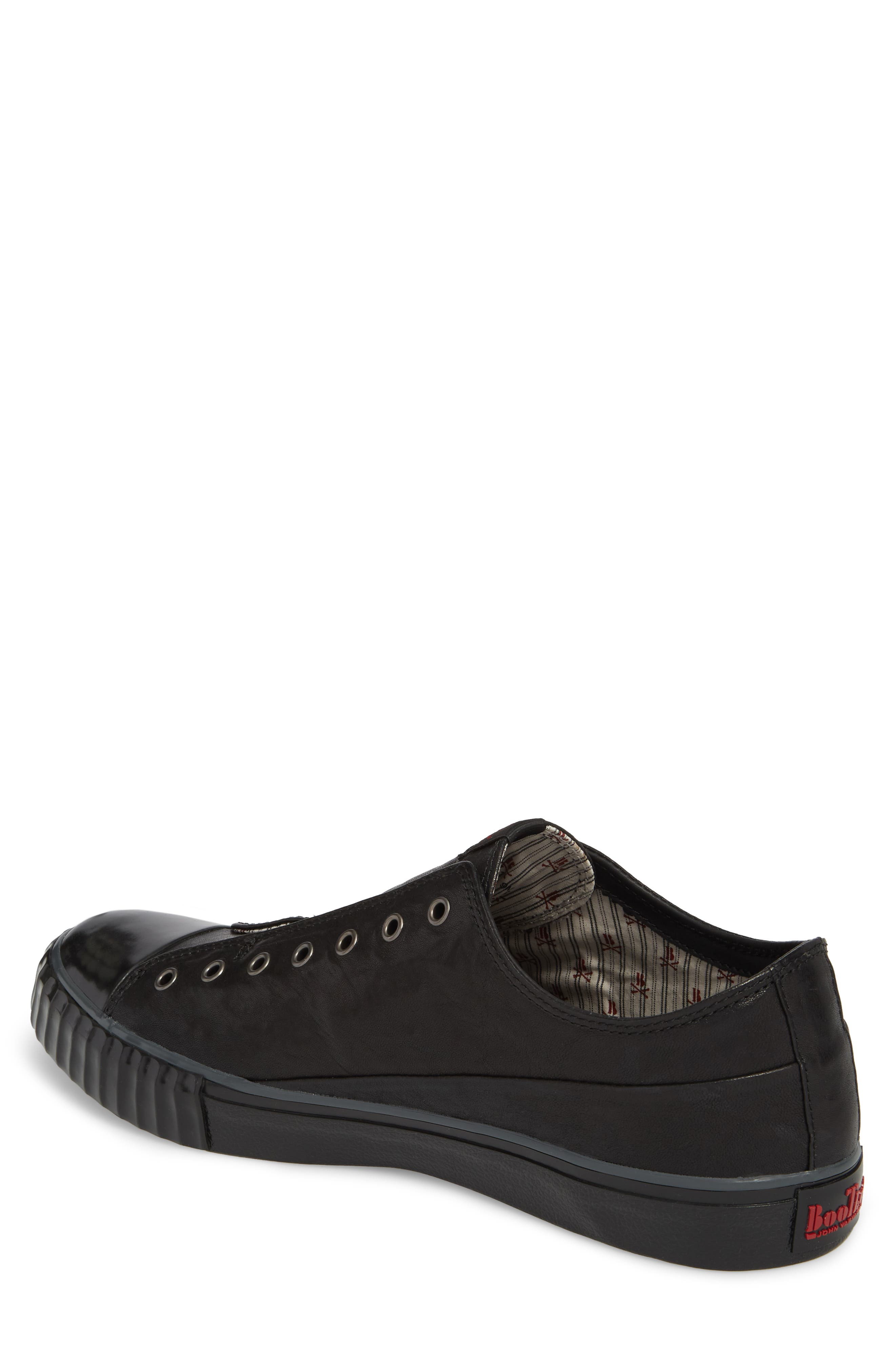 John Varvatos Star USA Bootleg Laceless Low Top Sneaker,                             Alternate thumbnail 2, color,                             BLACK LEATHER