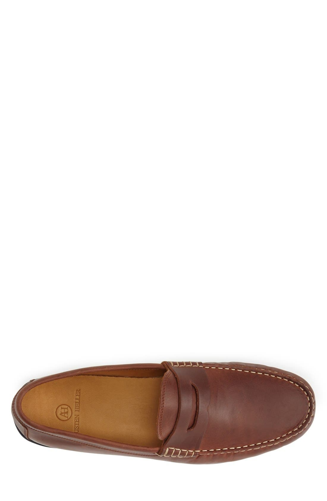 'Clinton' Leather Penny Loafer,                             Alternate thumbnail 9, color,                             LIGHT BROWN