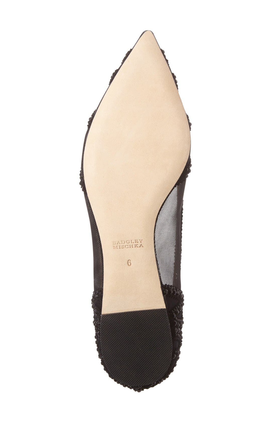 Gigi Crystal Pointy Toe Flat,                             Alternate thumbnail 2, color,                             BLACK SATIN