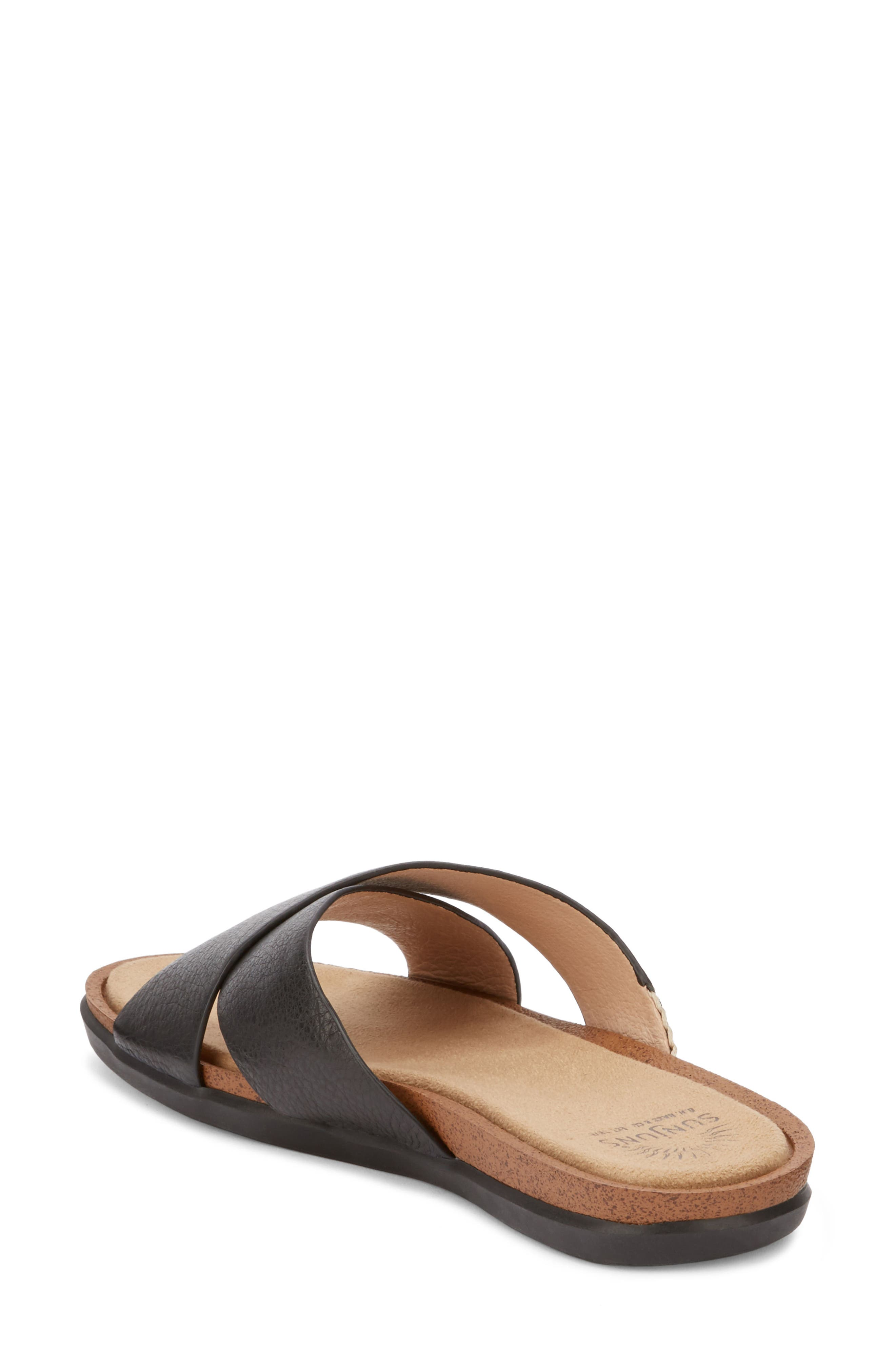 Stella Slide Sandal,                             Alternate thumbnail 2, color,                             BLACK LEATHER