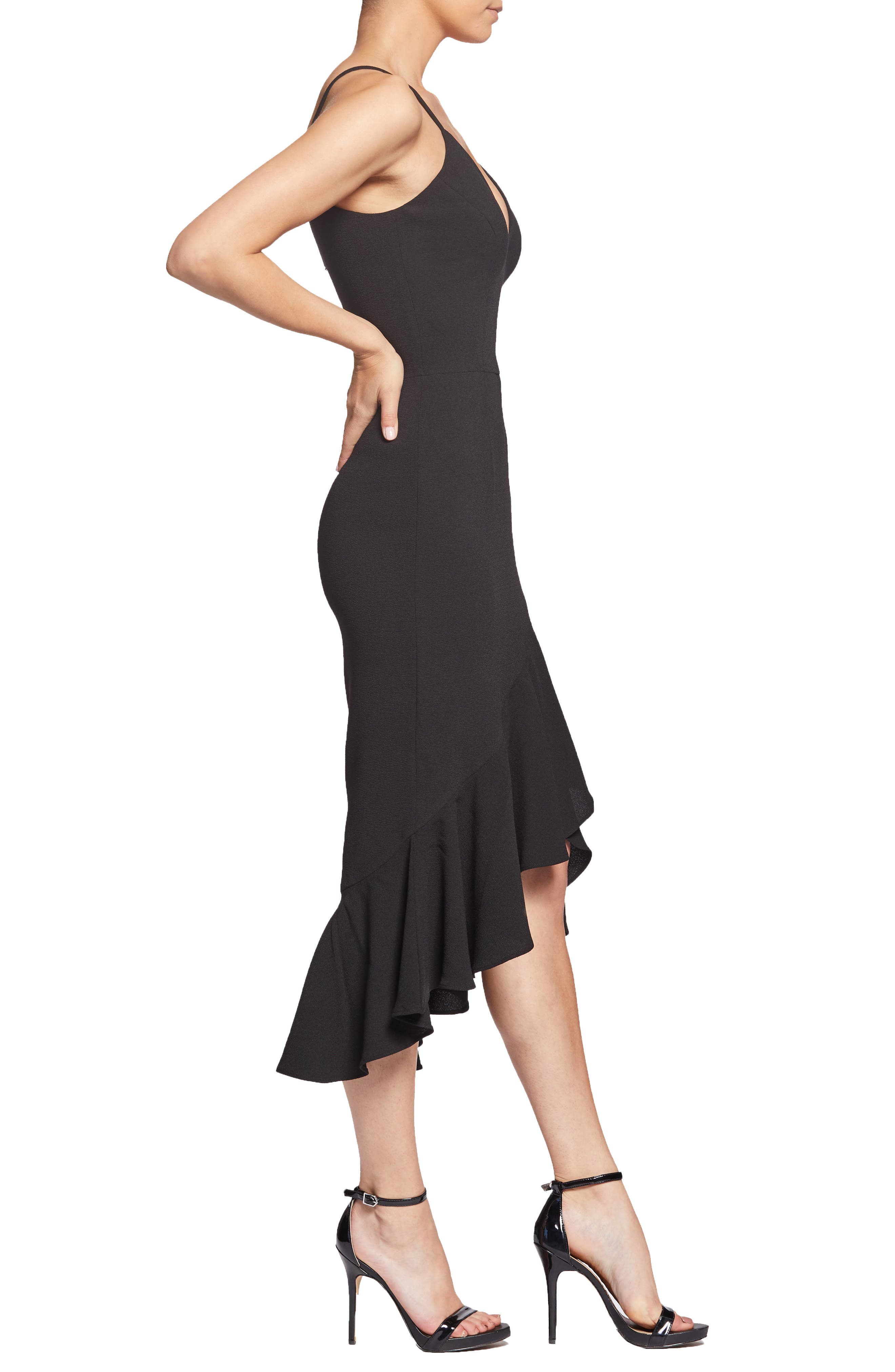 DRESS THE POPULATION,                             Wendy High/Low Ruffle Cocktail Dress,                             Alternate thumbnail 3, color,                             BLACK