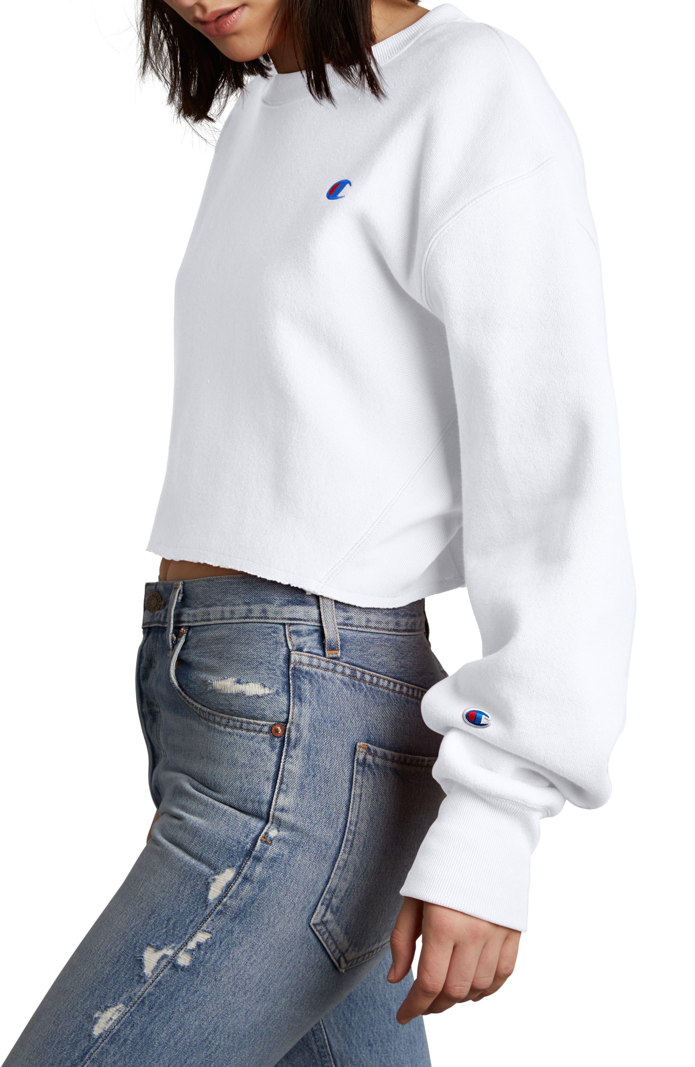 Crop Reverse Weave Sweatshirt,                             Alternate thumbnail 3, color,                             WHITE